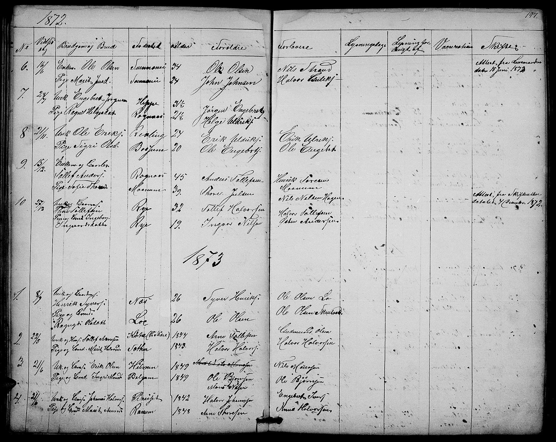 SAH, Nord-Aurdal prestekontor, Klokkerbok nr. 3, 1842-1882, s. 197