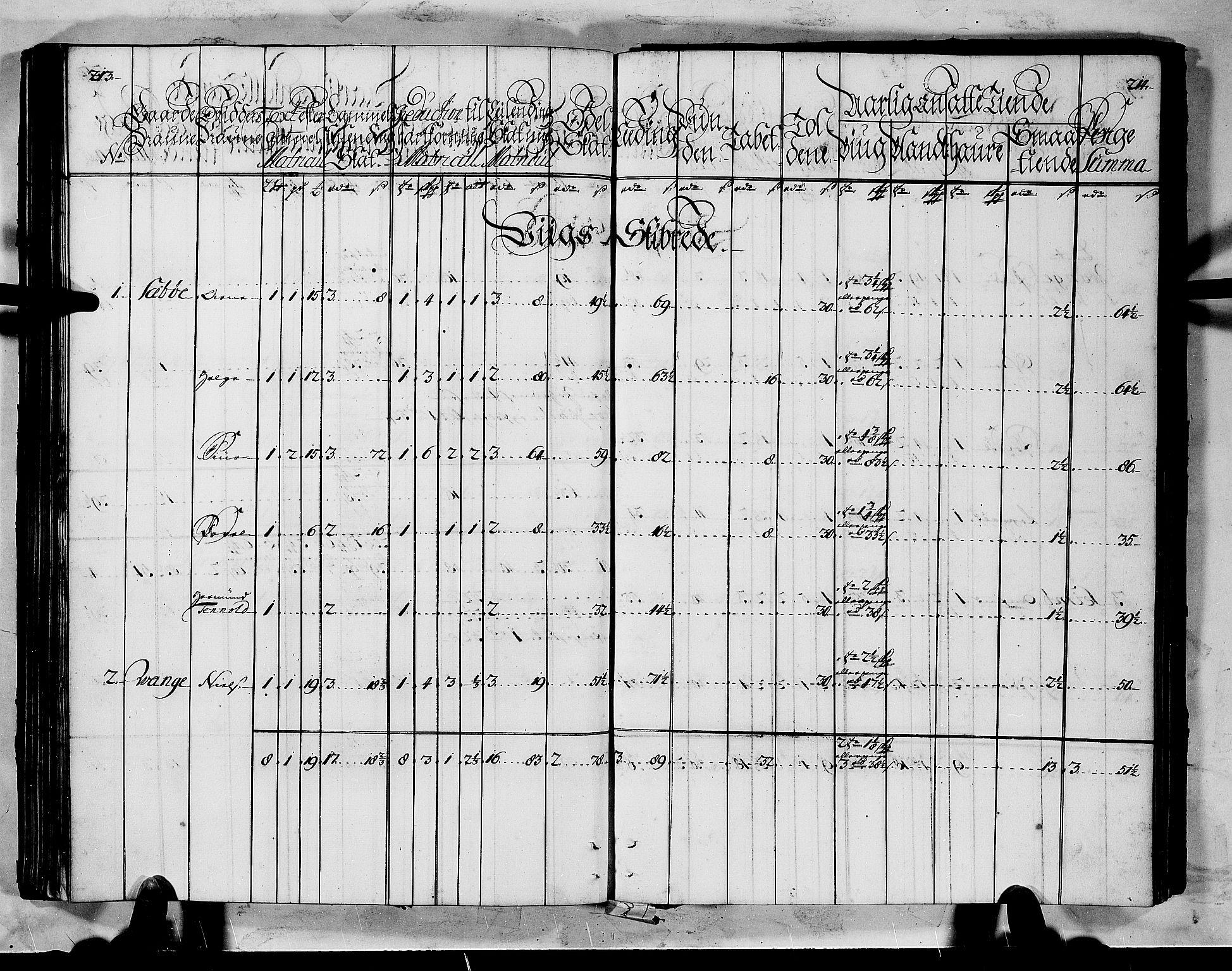 RA, Rentekammeret inntil 1814, Realistisk ordnet avdeling, N/Nb/Nbf/L0145: Ytre Sogn matrikkelprotokoll, 1723, s. 213-214