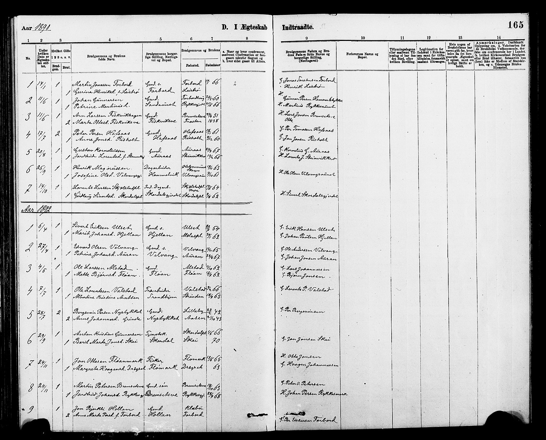 SAT, Ministerialprotokoller, klokkerbøker og fødselsregistre - Nord-Trøndelag, 712/L0103: Klokkerbok nr. 712C01, 1878-1917, s. 165