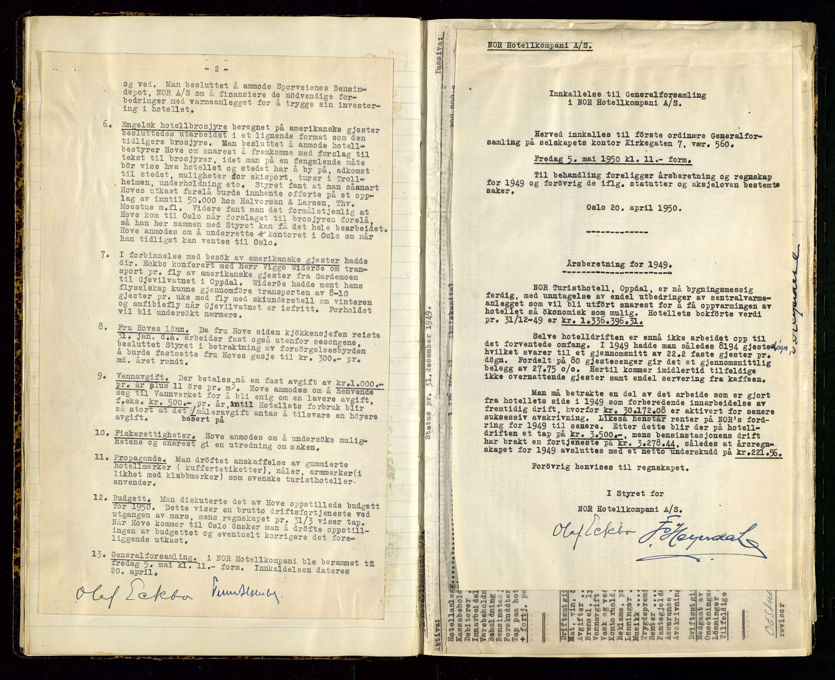 SAST, PA 1516 - Nor Hotellkompani A/S, A/L0001: Referatprotokoll, 1948-1855, s. 14