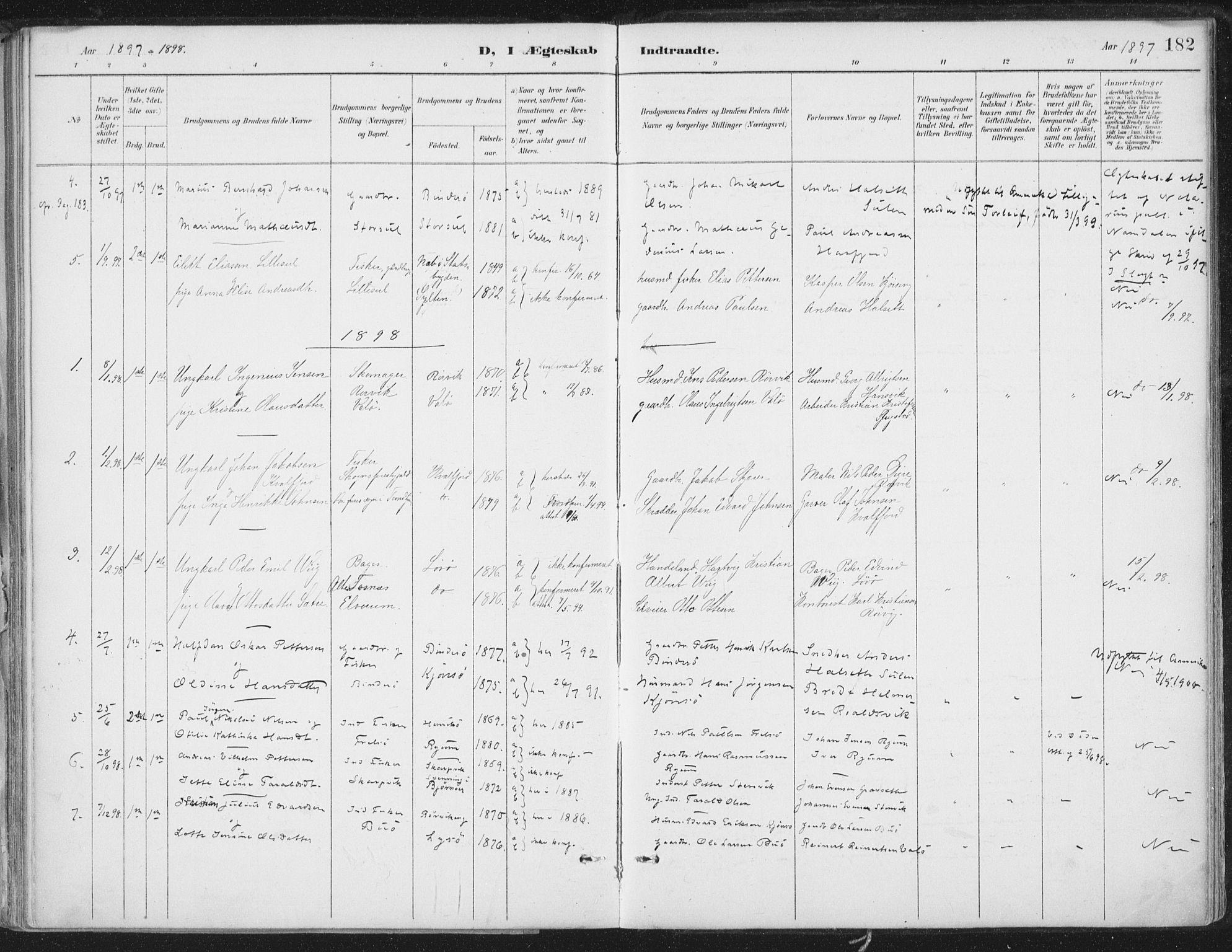 SAT, Ministerialprotokoller, klokkerbøker og fødselsregistre - Nord-Trøndelag, 786/L0687: Ministerialbok nr. 786A03, 1888-1898, s. 182