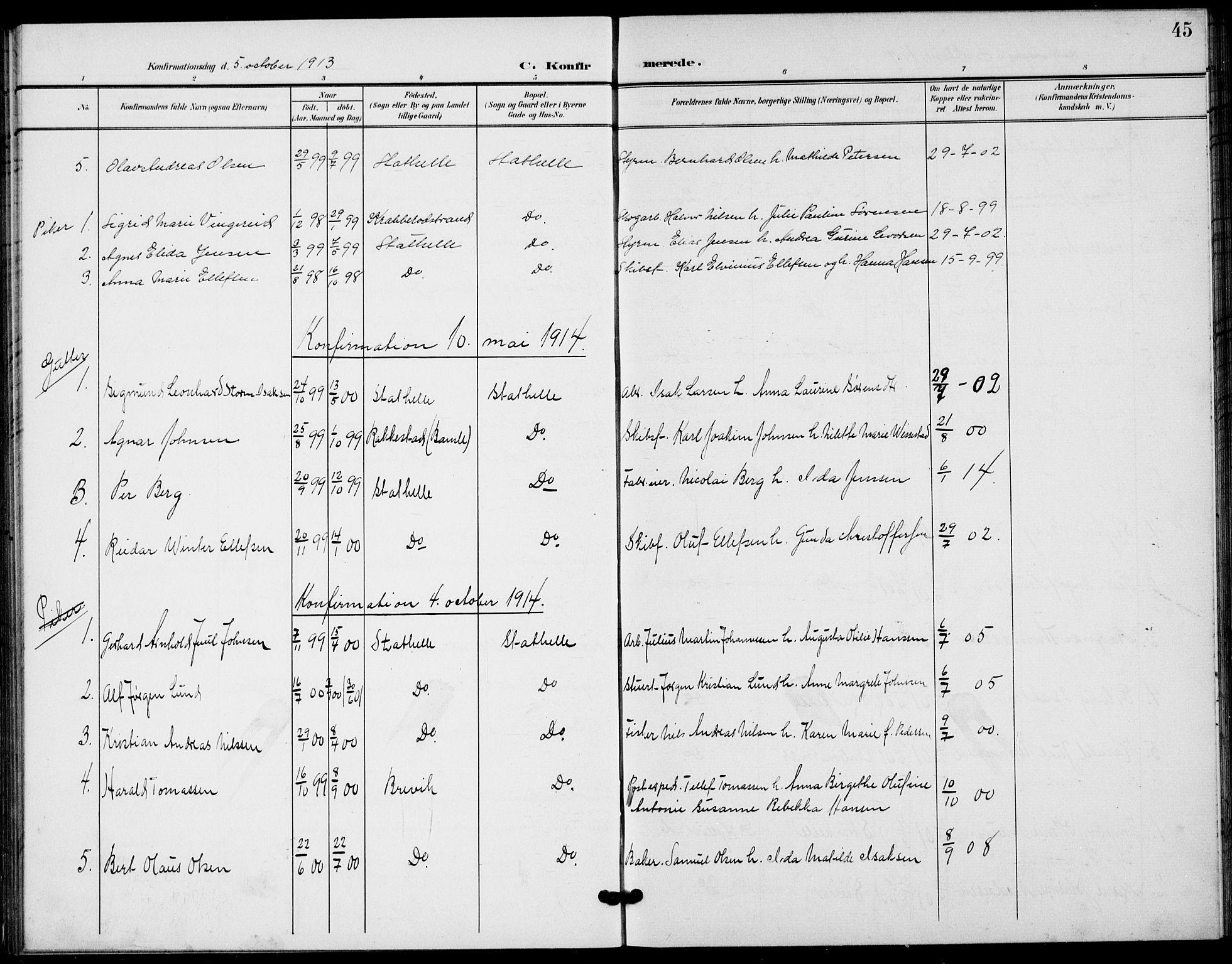 SAKO, Bamble kirkebøker, G/Gb/L0002: Klokkerbok nr. II 2, 1900-1925, s. 45