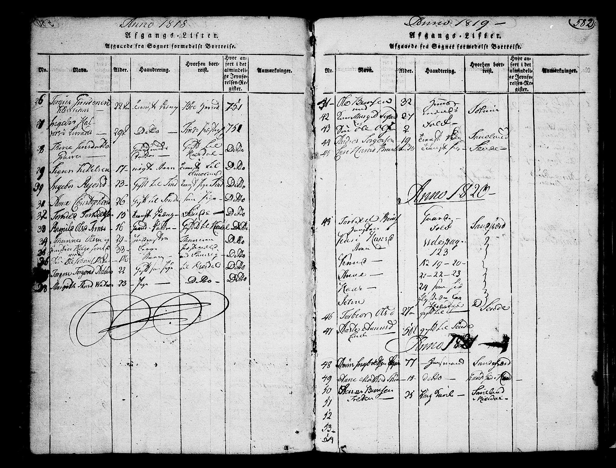 SAKO, Heddal kirkebøker, F/Fa/L0005: Ministerialbok nr. I 5, 1814-1837, s. 581-582