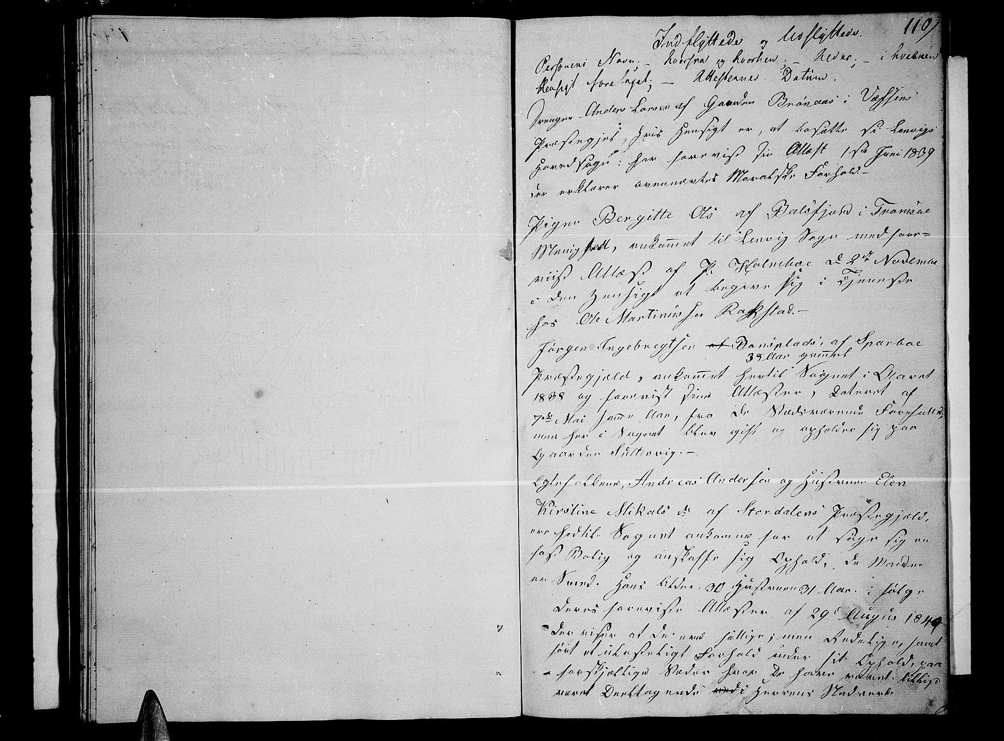 SATØ, Lenvik sokneprestembete, H/Ha: Klokkerbok nr. 2, 1838-1843, s. 110