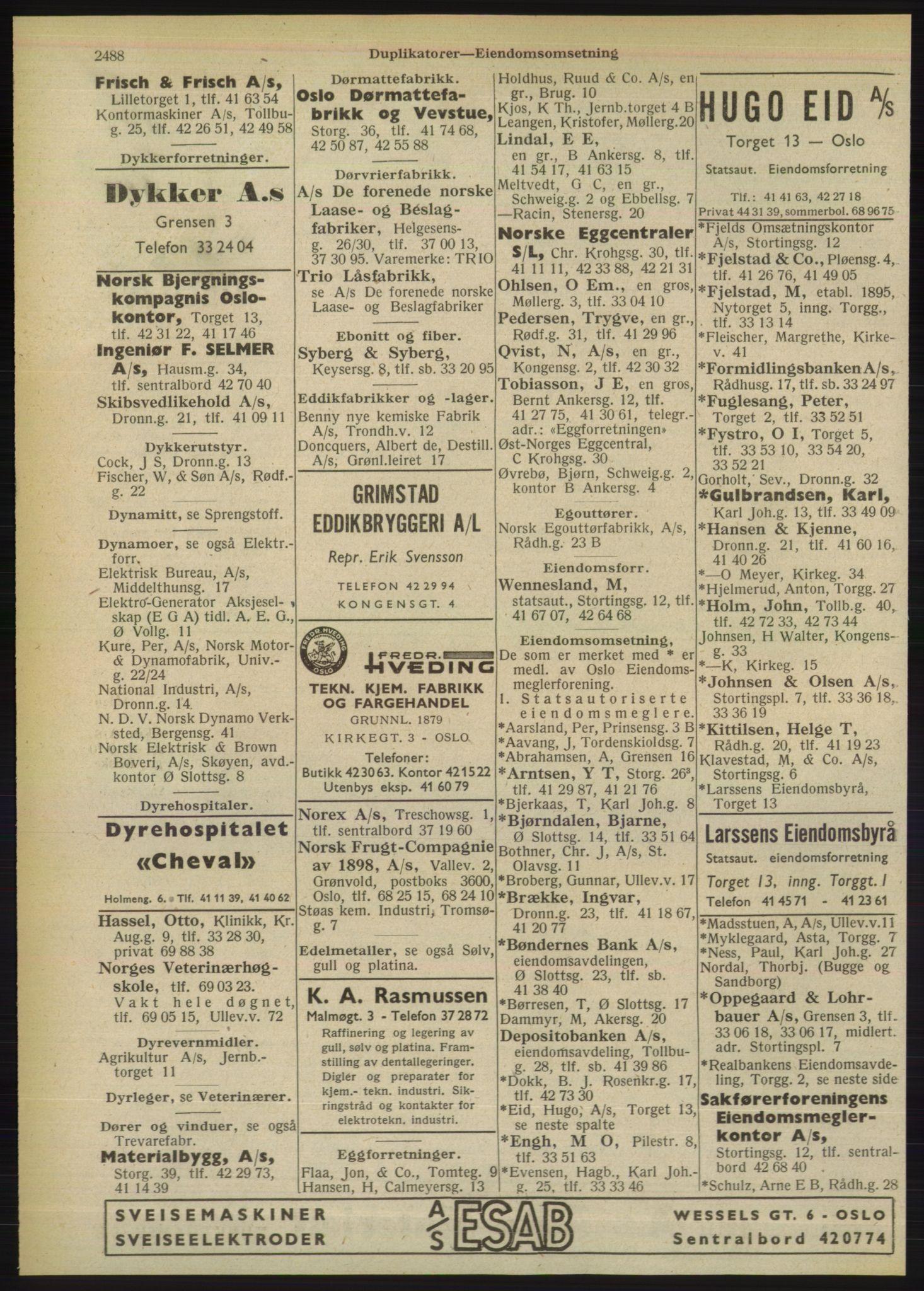 RA, Oslo adressebok (publikasjon)*, 1949, s. 2488
