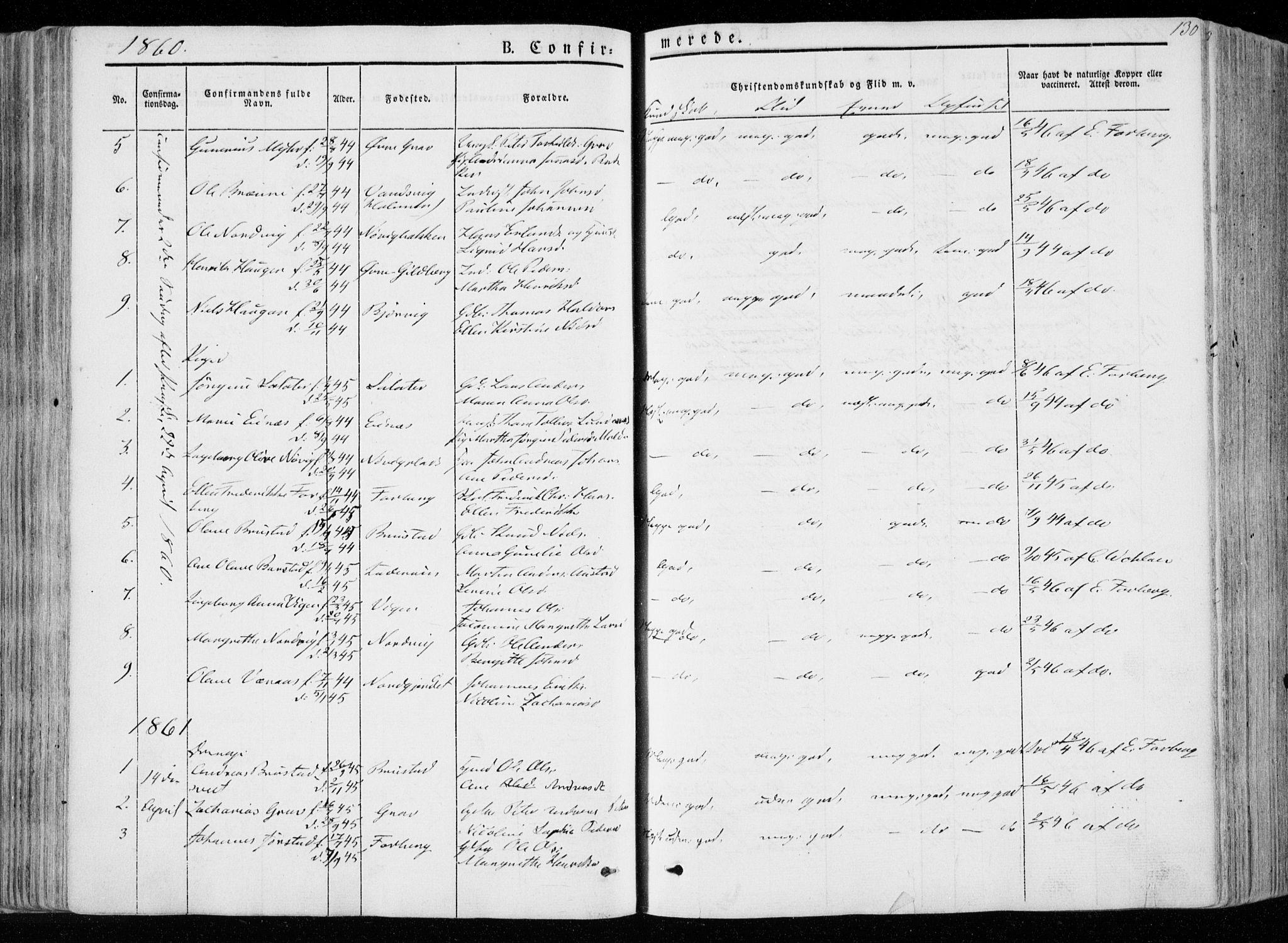 SAT, Ministerialprotokoller, klokkerbøker og fødselsregistre - Nord-Trøndelag, 722/L0218: Ministerialbok nr. 722A05, 1843-1868, s. 130