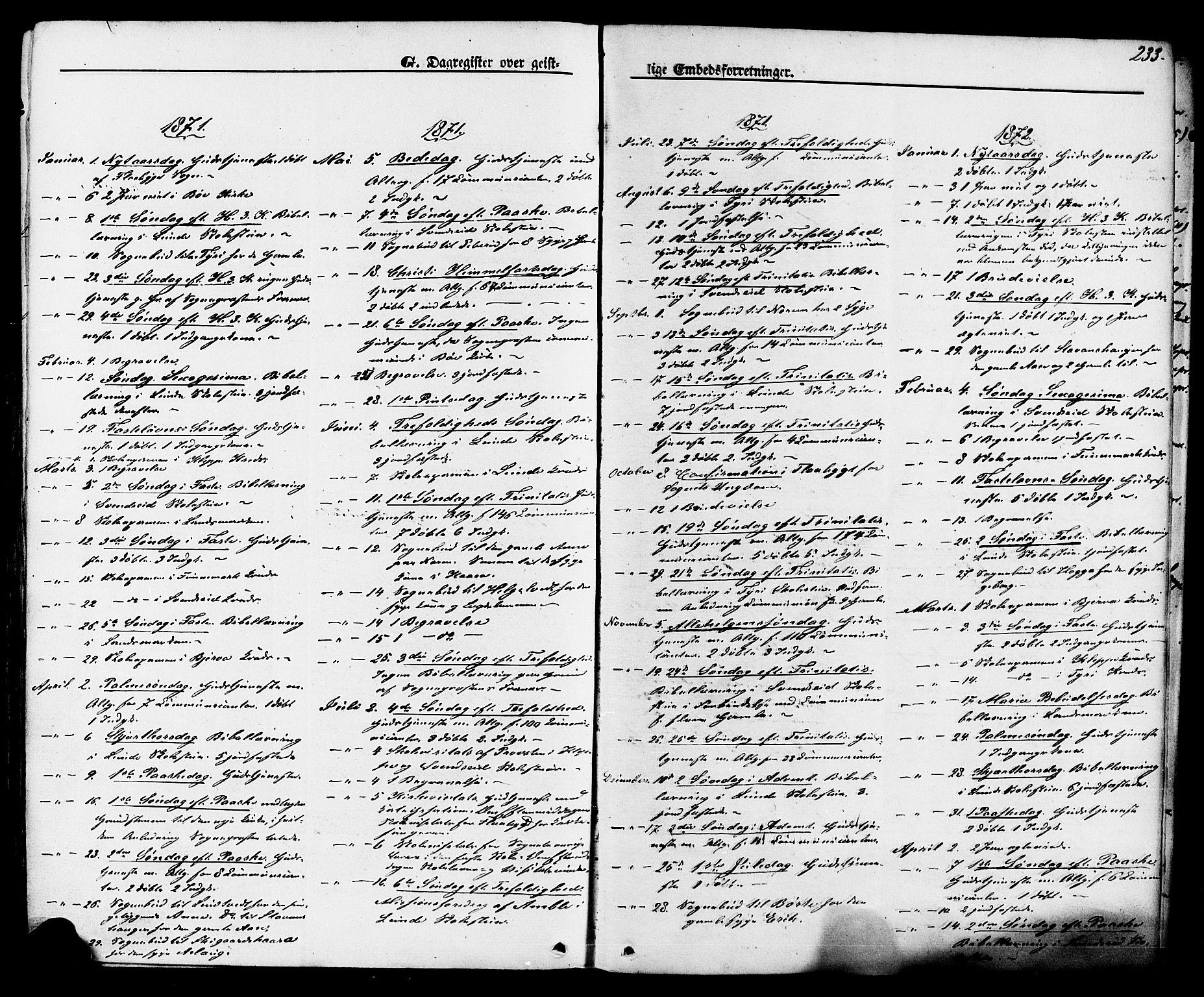 SAKO, Lunde kirkebøker, F/Fa/L0001: Ministerialbok nr. I 1, 1866-1883, s. 233