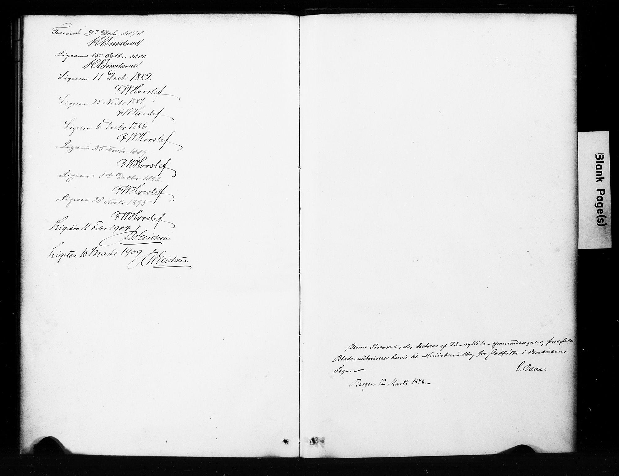 SAB, Domkirken Sokneprestembete, H/Hab/L0045: Klokkerbok nr. G 1, 1878-1916