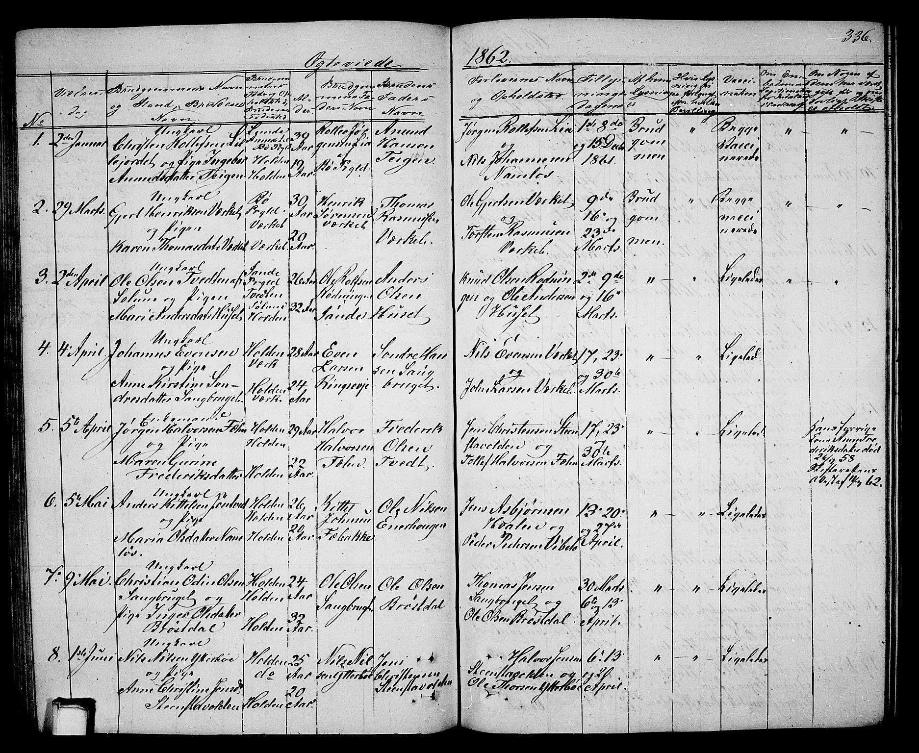 SAKO, Holla kirkebøker, G/Ga/L0003: Klokkerbok nr. I 3, 1849-1866, s. 336