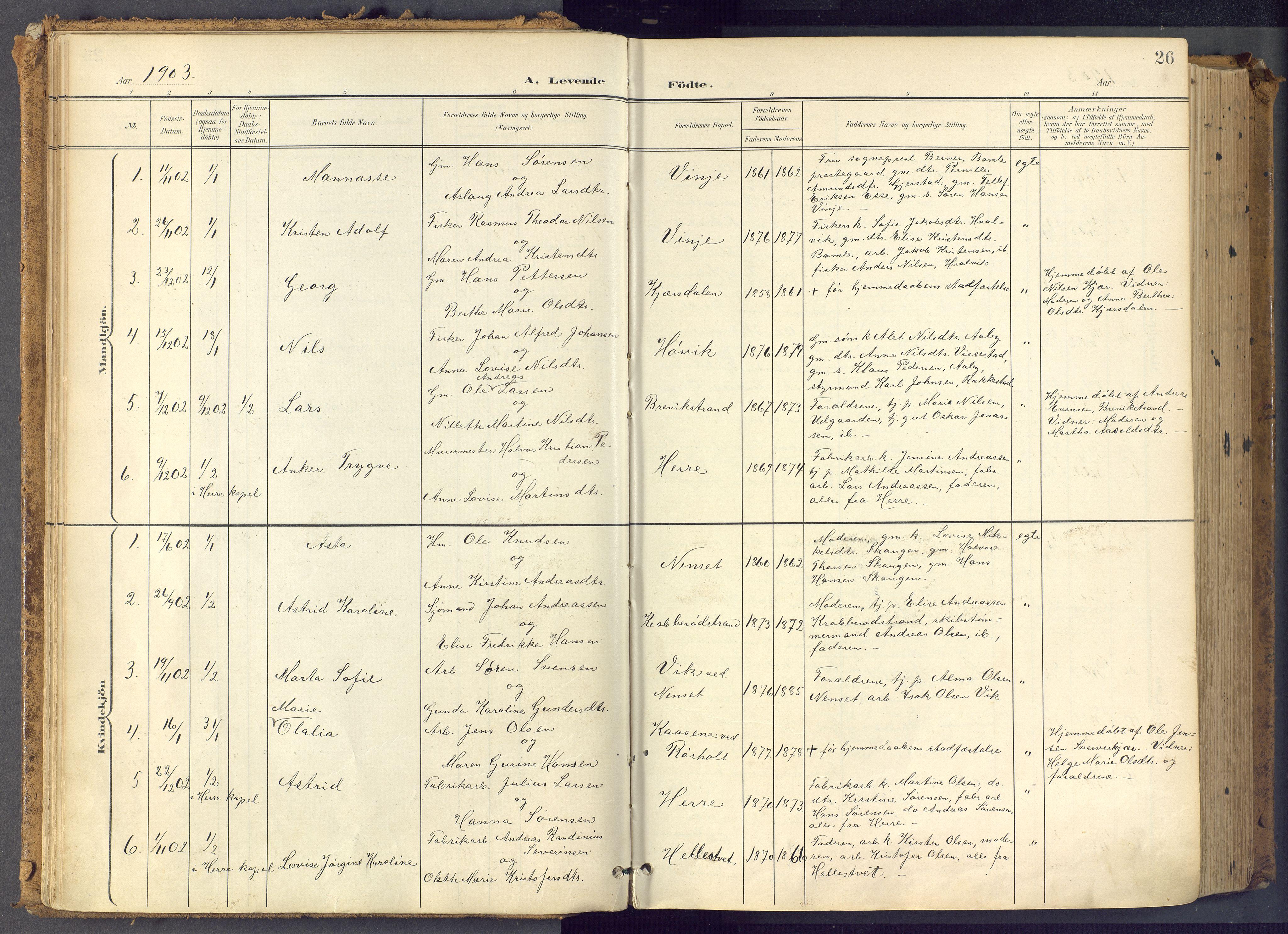 SAKO, Bamble kirkebøker, F/Fa/L0009: Ministerialbok nr. I 9, 1901-1917, s. 26