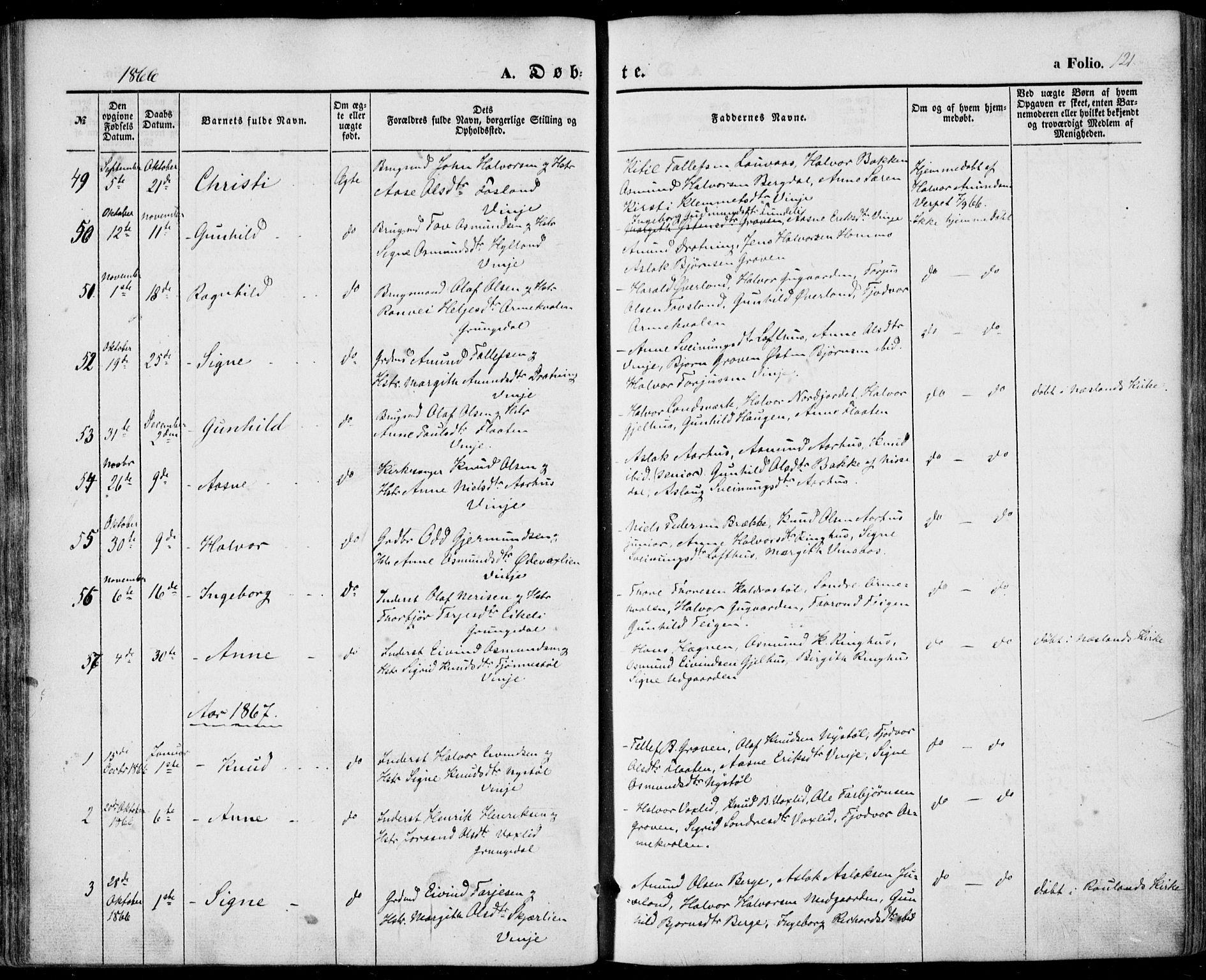 SAKO, Vinje kirkebøker, F/Fa/L0004: Ministerialbok nr. I 4, 1843-1869, s. 121