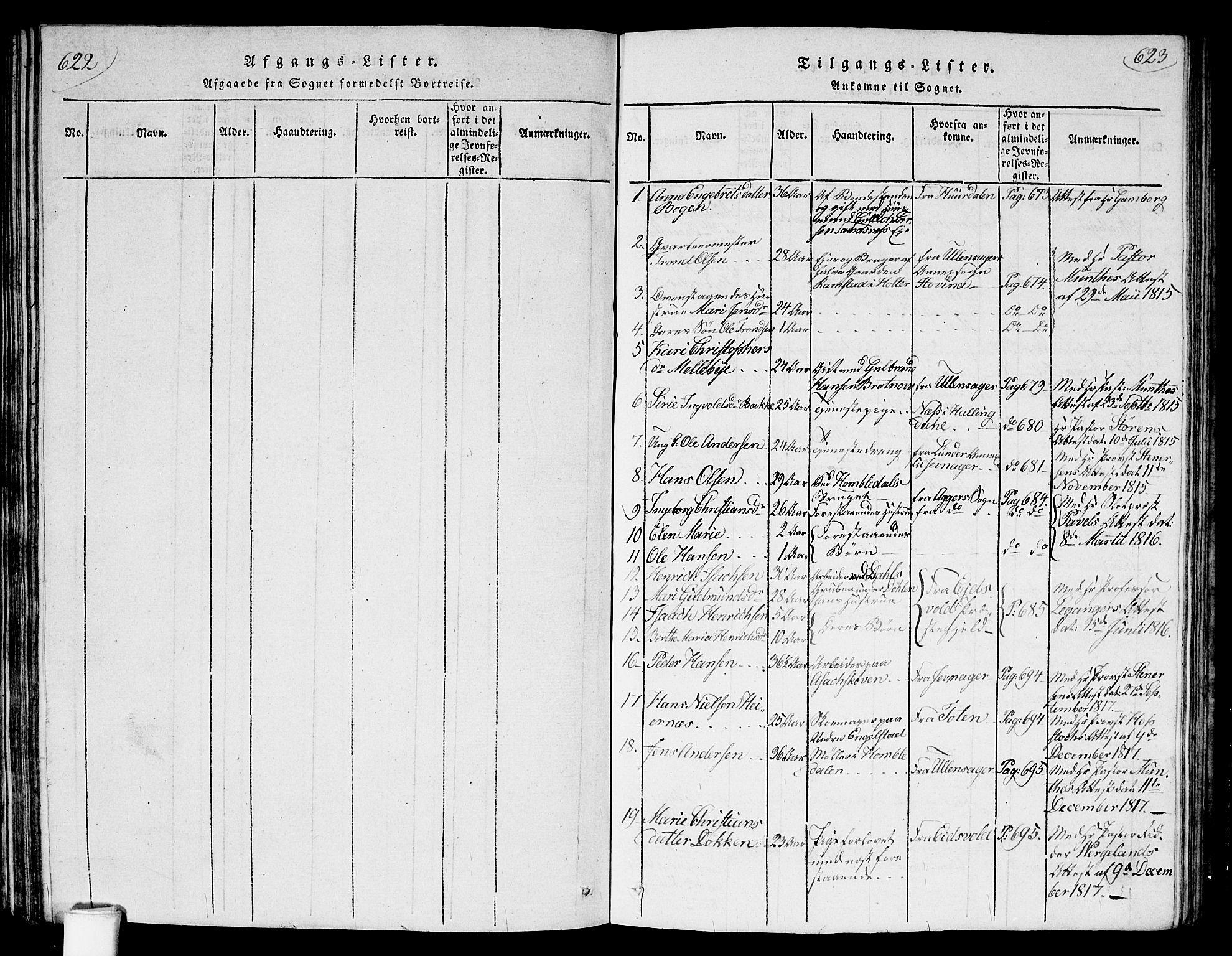 SAO, Nannestad prestekontor Kirkebøker, G/Ga/L0001: Klokkerbok nr. I 1, 1815-1839, s. 622-623