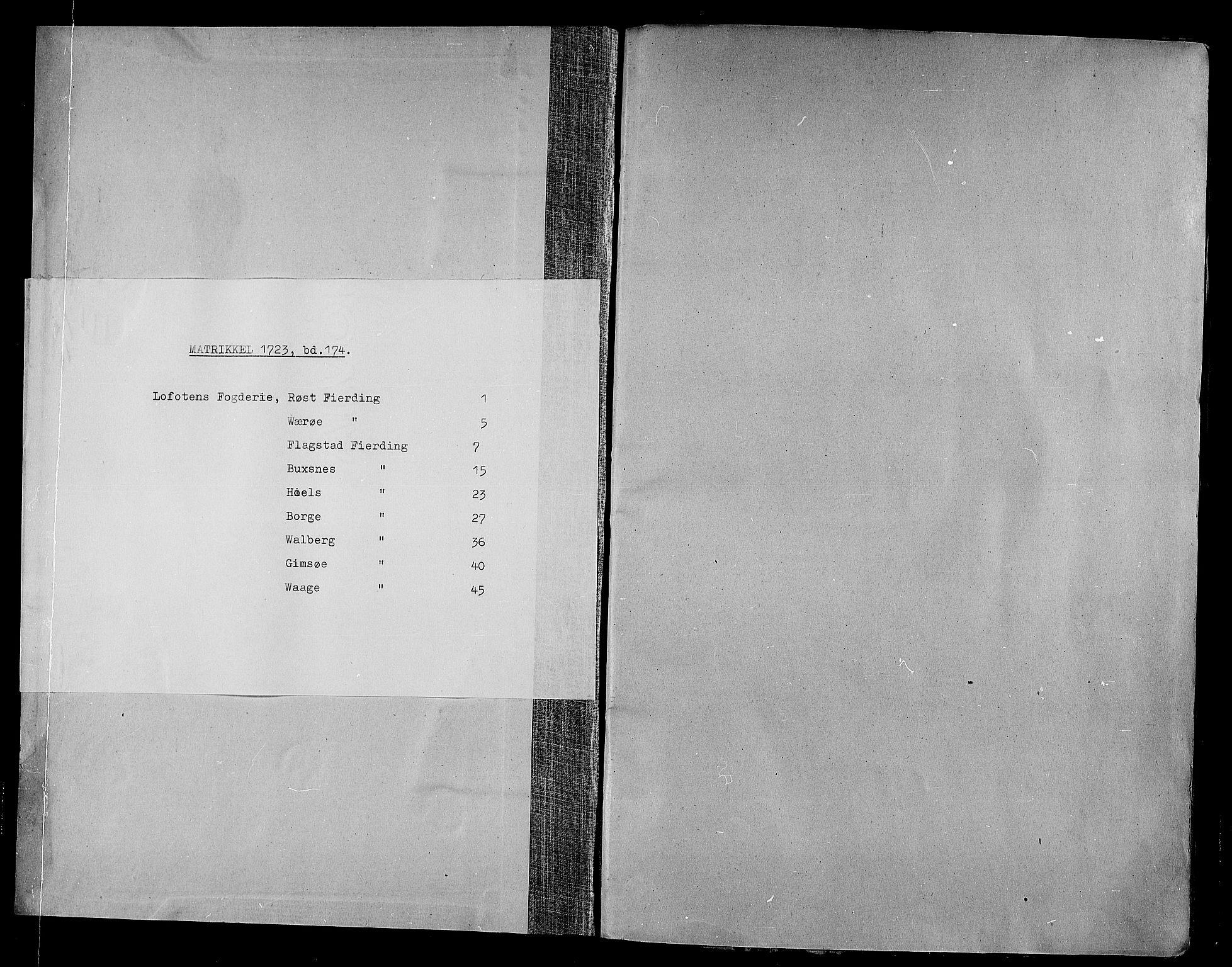 RA, Rentekammeret inntil 1814, Realistisk ordnet avdeling, N/Nb/Nbf/L0174: Lofoten eksaminasjonsprotokoll, 1723, s. upaginert
