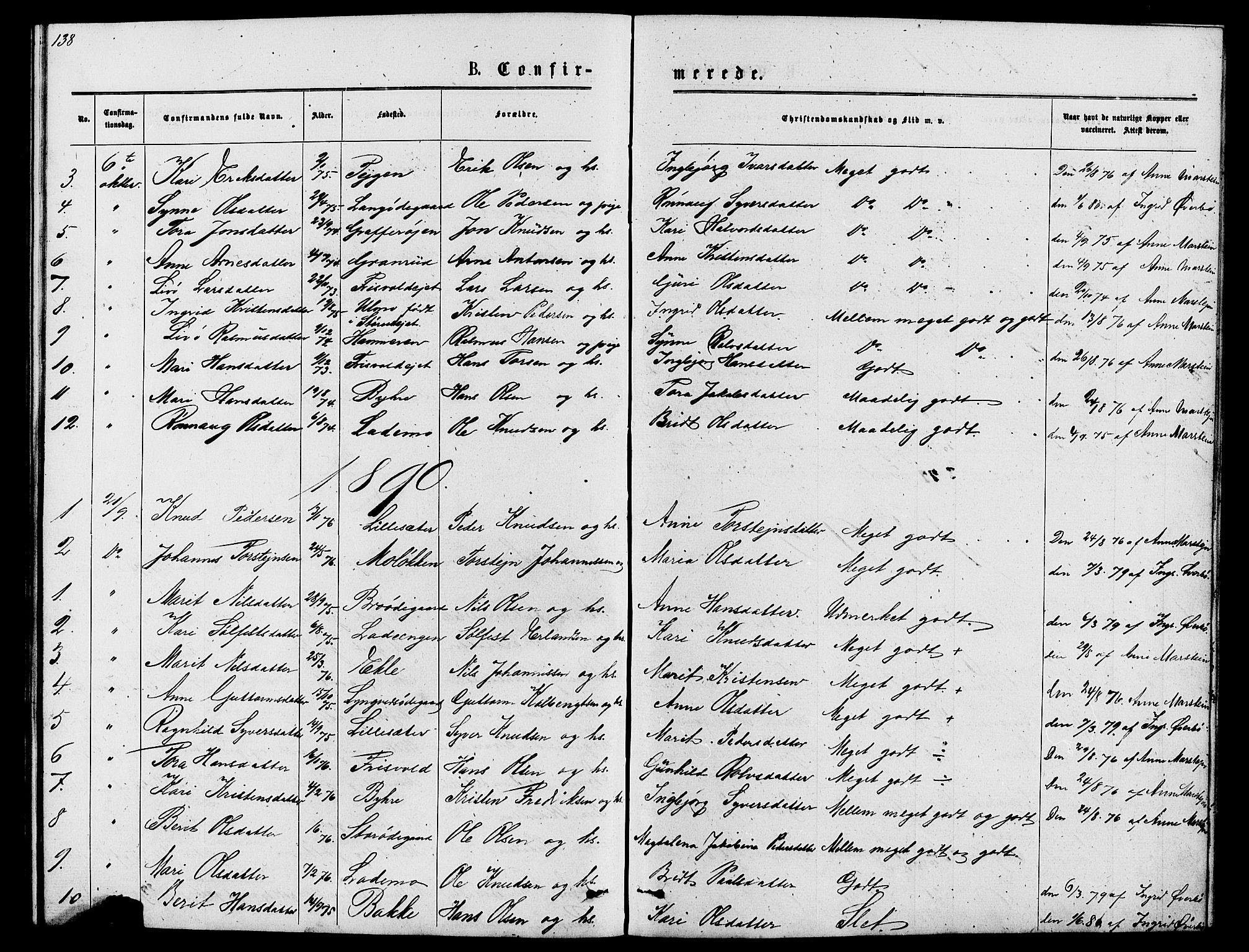SAH, Lom prestekontor, L/L0005: Klokkerbok nr. 5, 1876-1901, s. 138-139