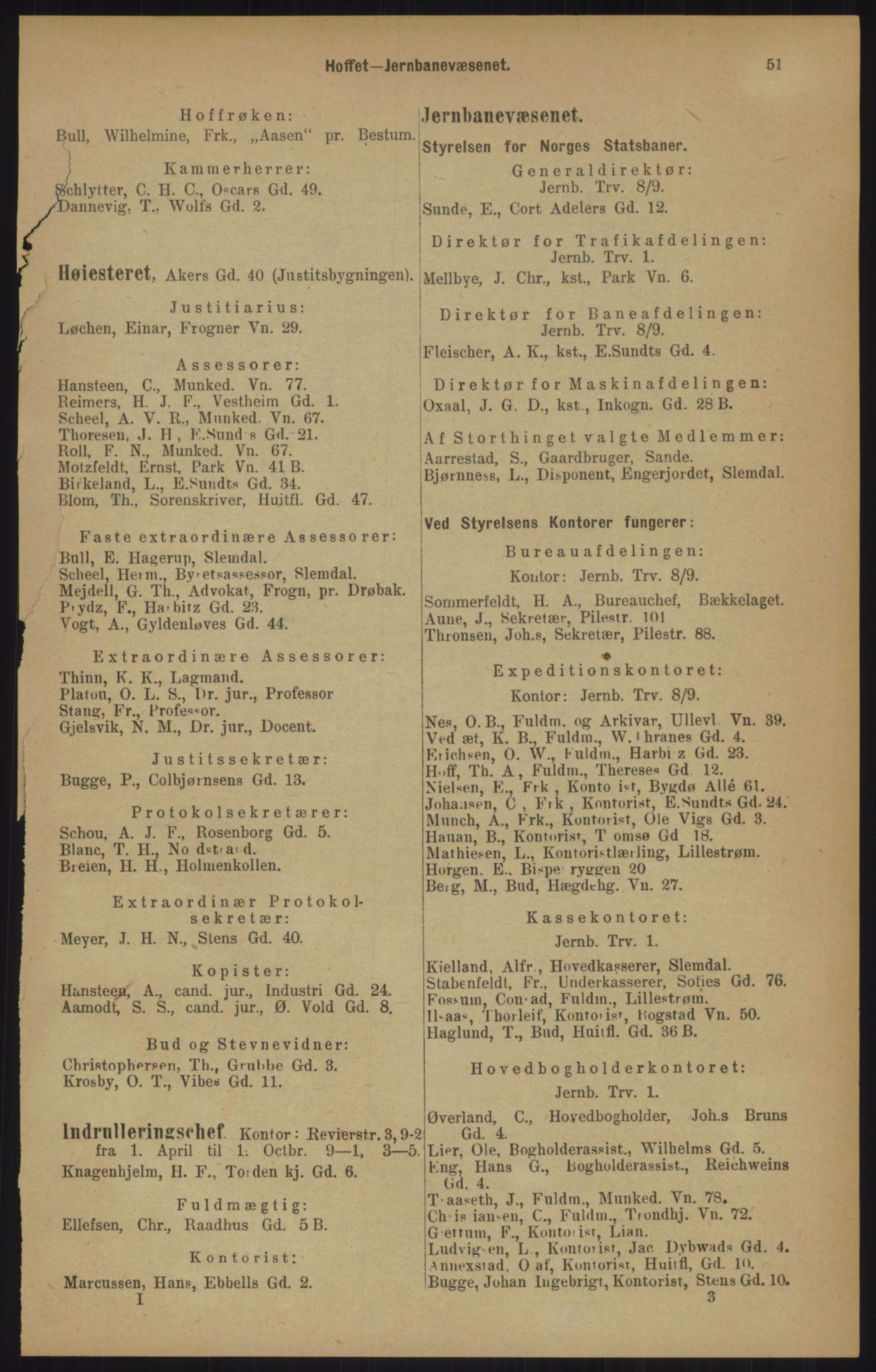 RA, Kristiania adressebok (publikasjon)*, 1905, s. 51