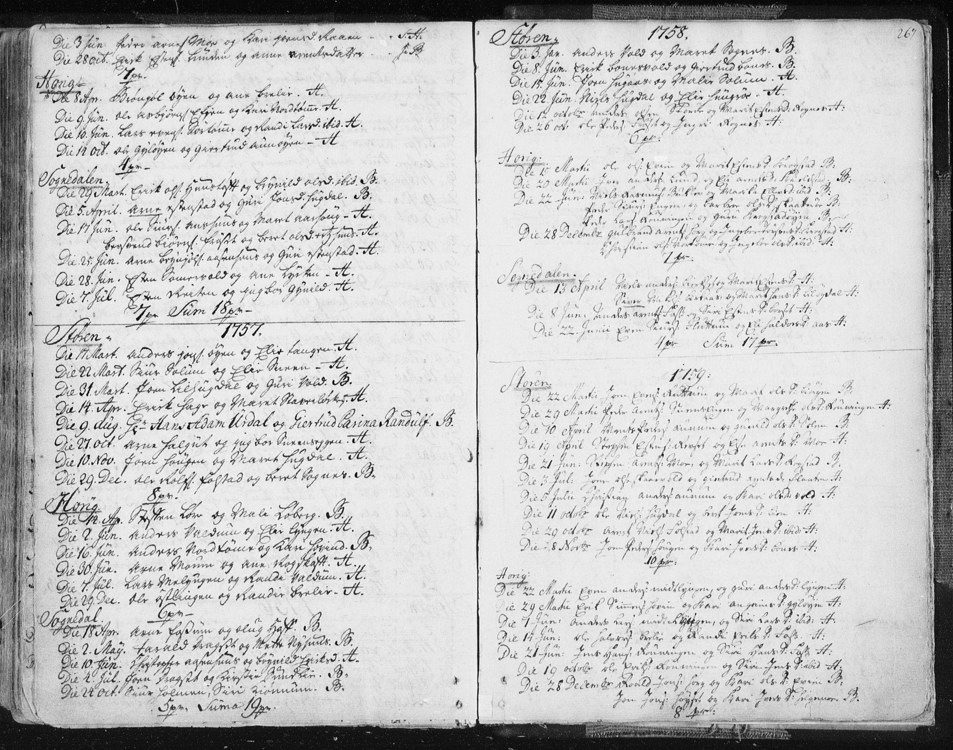 SAT, Ministerialprotokoller, klokkerbøker og fødselsregistre - Sør-Trøndelag, 687/L0991: Ministerialbok nr. 687A02, 1747-1790, s. 267