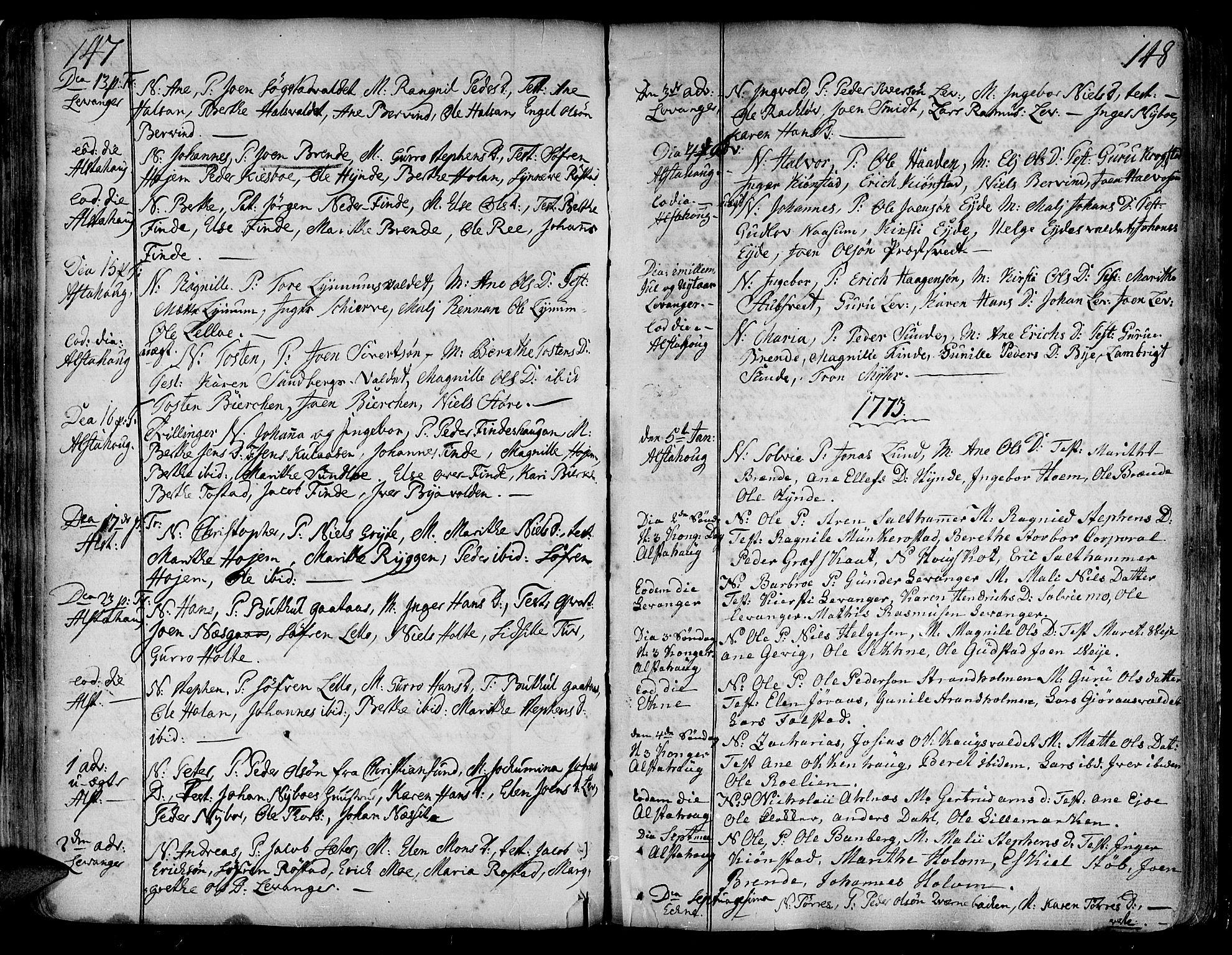 SAT, Ministerialprotokoller, klokkerbøker og fødselsregistre - Nord-Trøndelag, 717/L0141: Ministerialbok nr. 717A01, 1747-1803, s. 147-148