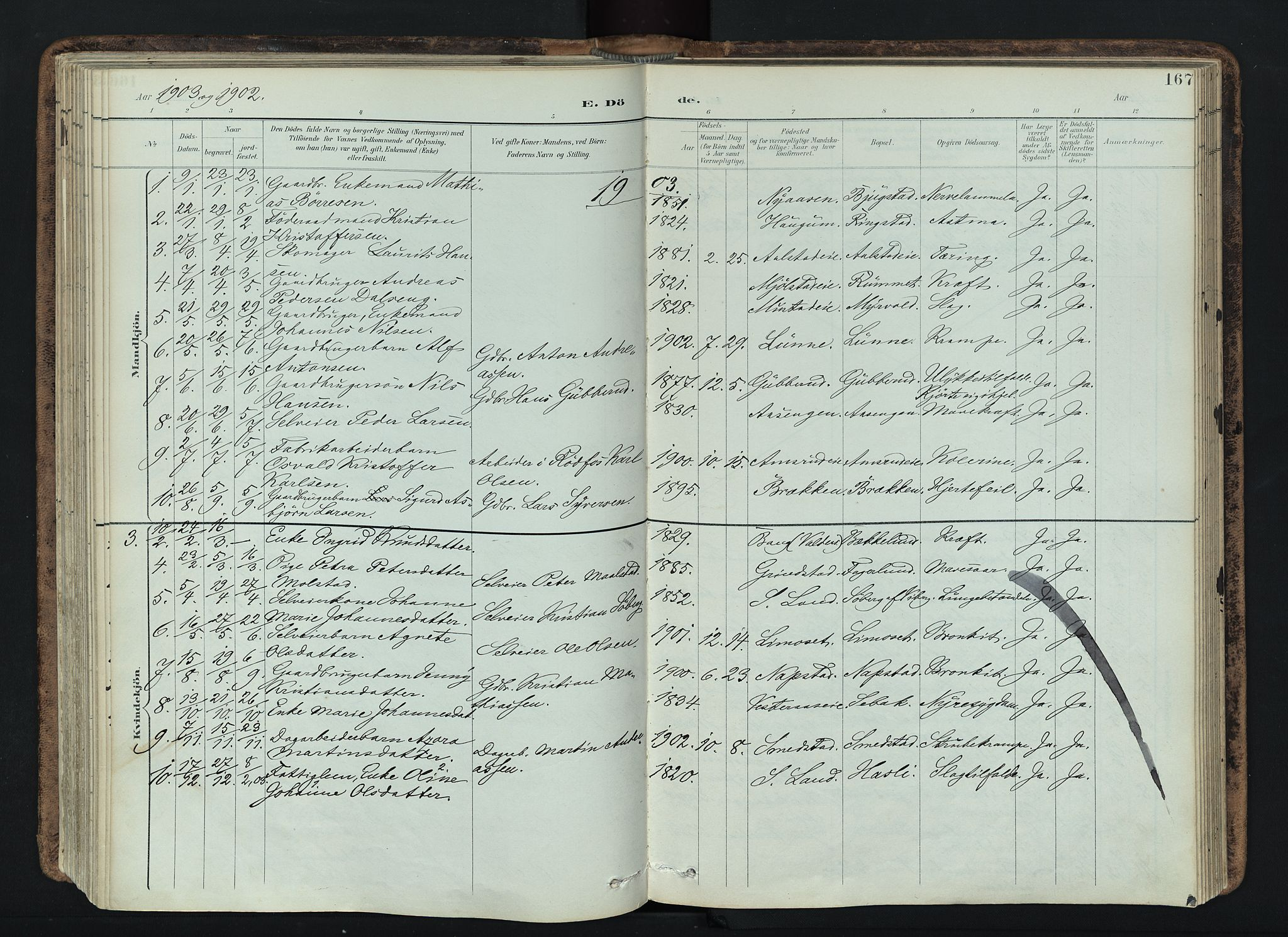 SAH, Vardal prestekontor, H/Ha/Haa/L0019: Ministerialbok nr. 19, 1893-1907, s. 167