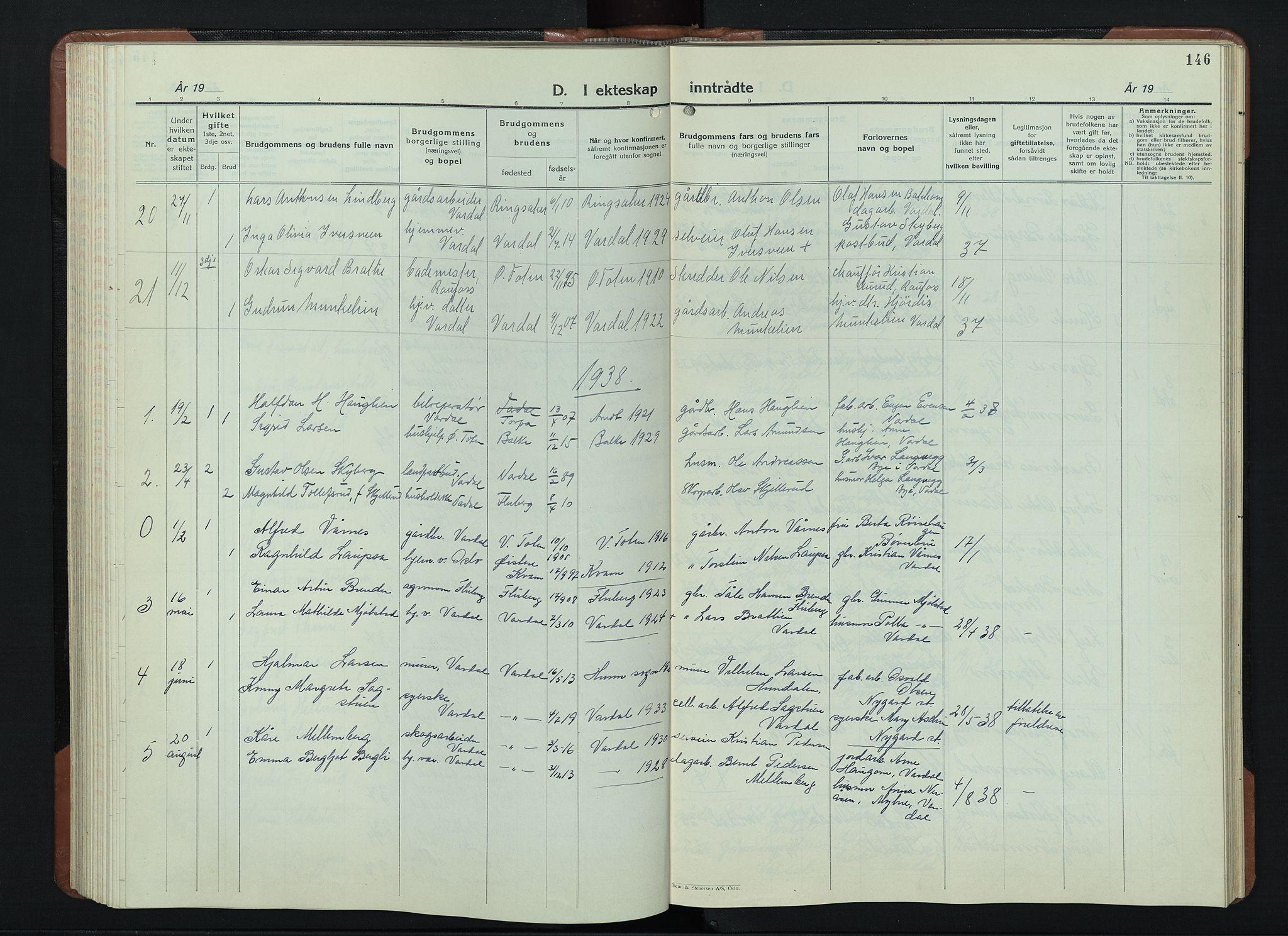 SAH, Vardal prestekontor, H/Ha/Hab/L0018: Klokkerbok nr. 18, 1931-1951, s. 146