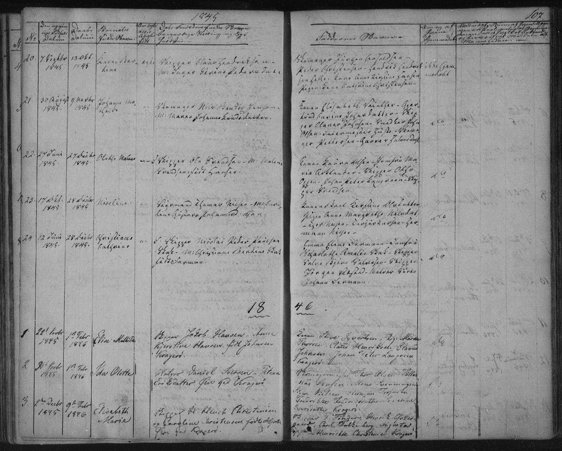 SAKO, Kragerø kirkebøker, F/Fa/L0005: Ministerialbok nr. 5, 1832-1847, s. 107