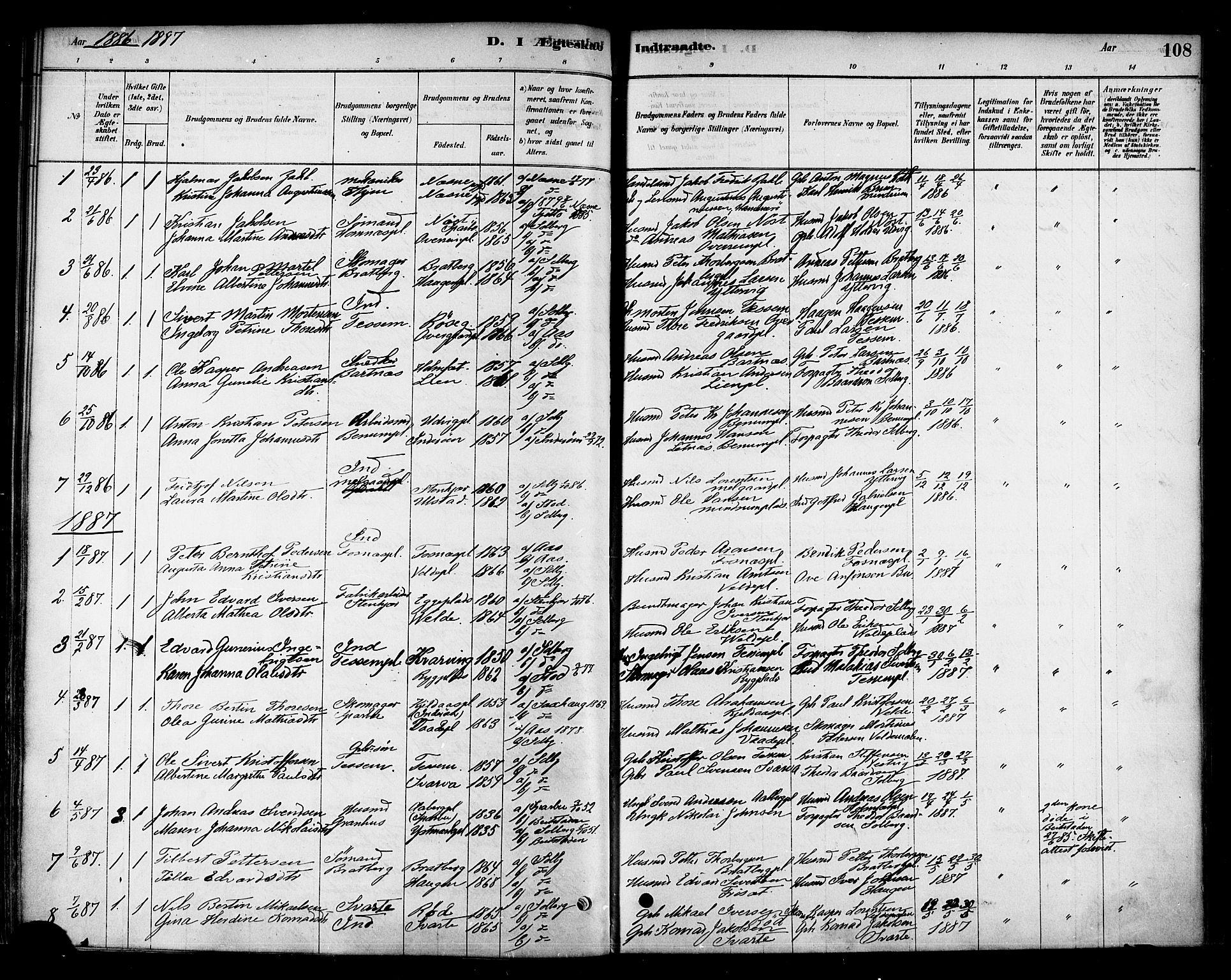 SAT, Ministerialprotokoller, klokkerbøker og fødselsregistre - Nord-Trøndelag, 741/L0395: Ministerialbok nr. 741A09, 1878-1888, s. 108
