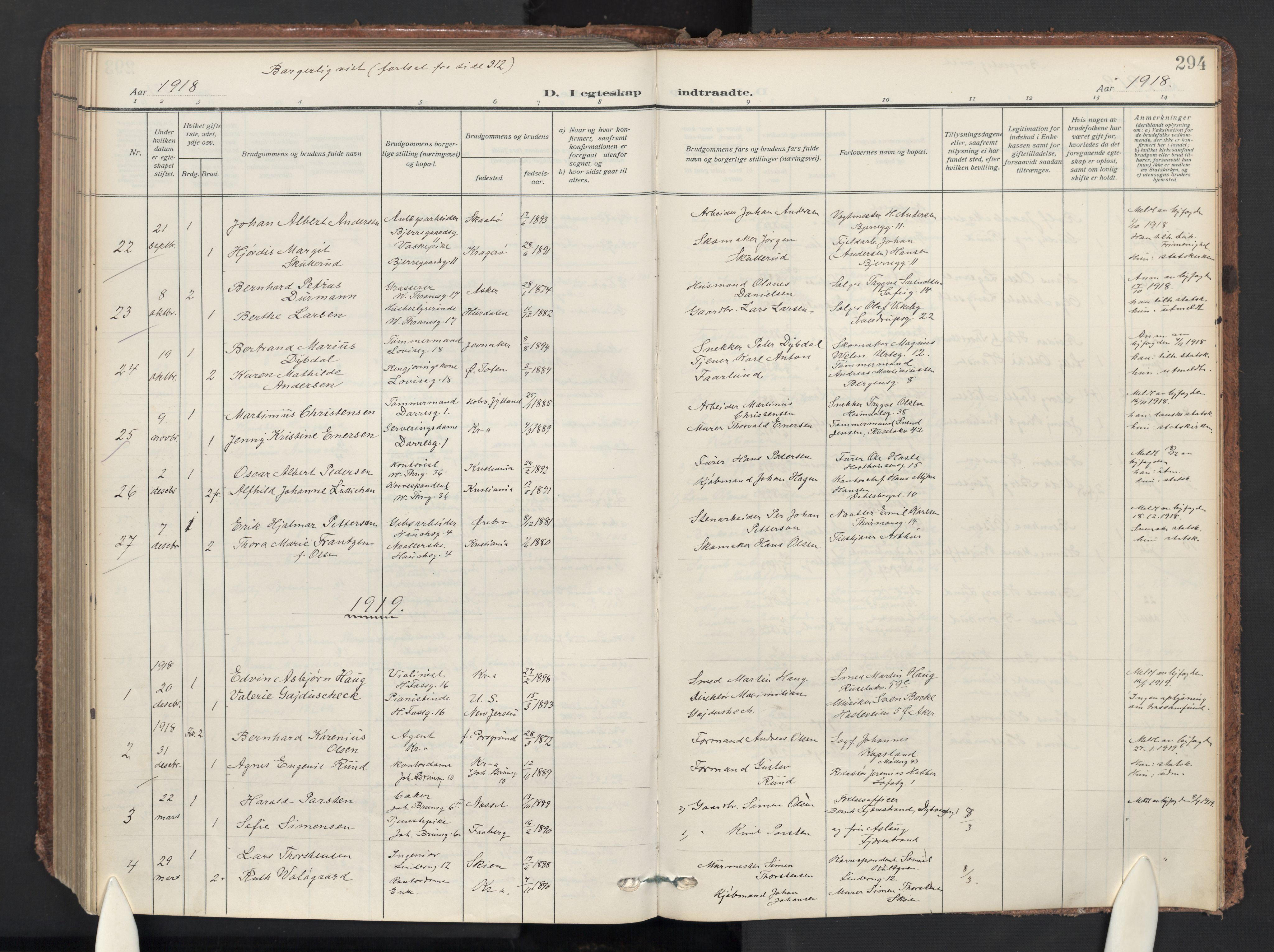 SAO, Gamle Aker prestekontor Kirkebøker, F/L0015: Ministerialbok nr. 15, 1911-1924, s. 294