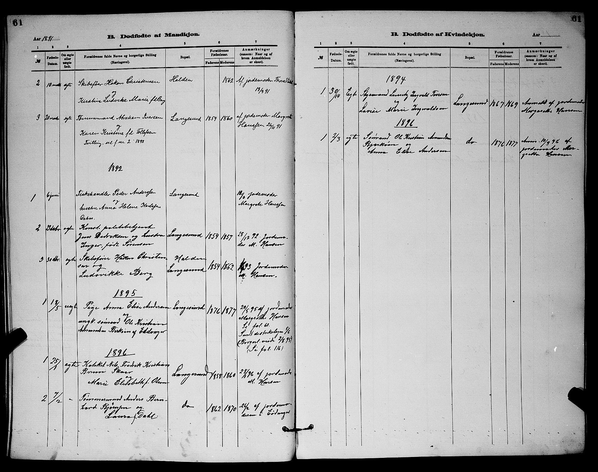 SAKO, Langesund kirkebøker, G/Ga/L0005: Klokkerbok nr. 5, 1884-1898, s. 61
