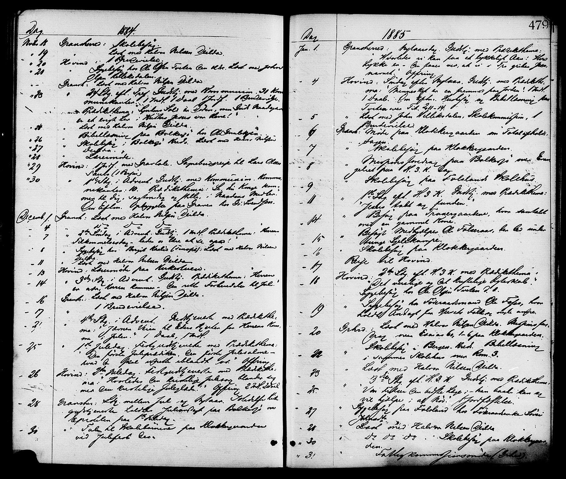 SAKO, Gransherad kirkebøker, F/Fa/L0004: Ministerialbok nr. I 4, 1871-1886, s. 479