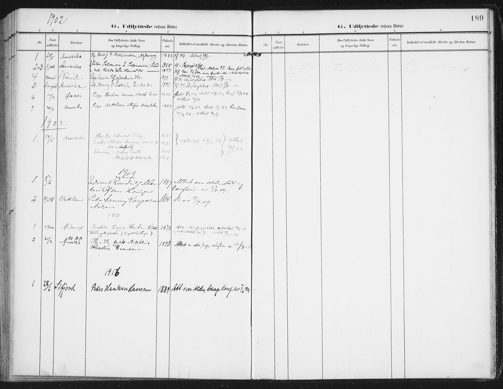 SAT, Ministerialprotokoller, klokkerbøker og fødselsregistre - Nordland, 892/L1321: Ministerialbok nr. 892A02, 1902-1918, s. 189