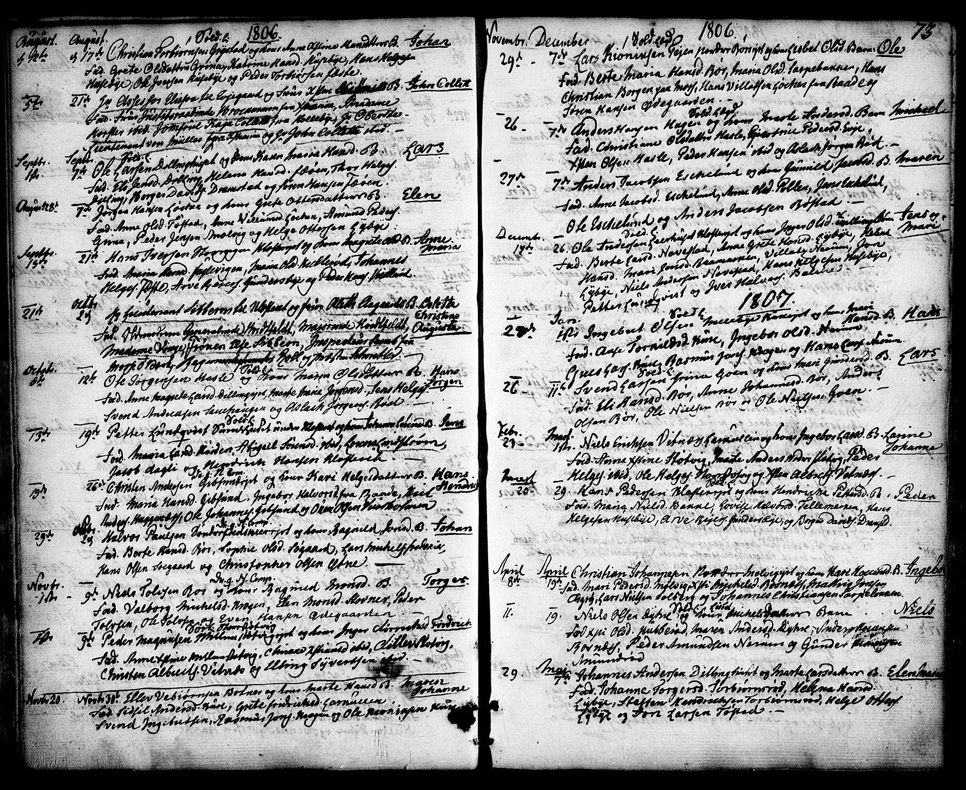 SAO, Rygge prestekontor Kirkebøker, F/Fa/L0002: Ministerialbok nr. 2, 1771-1814, s. 73