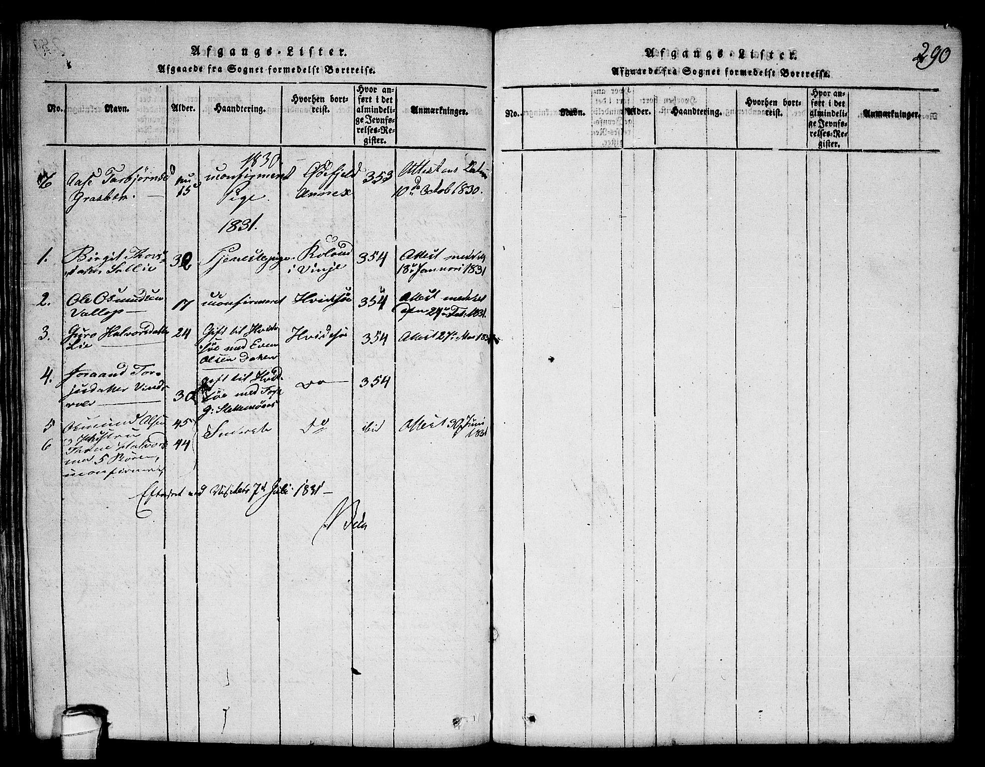 SAKO, Seljord kirkebøker, F/Fc/L0001: Ministerialbok nr. III 1, 1815-1831, s. 290