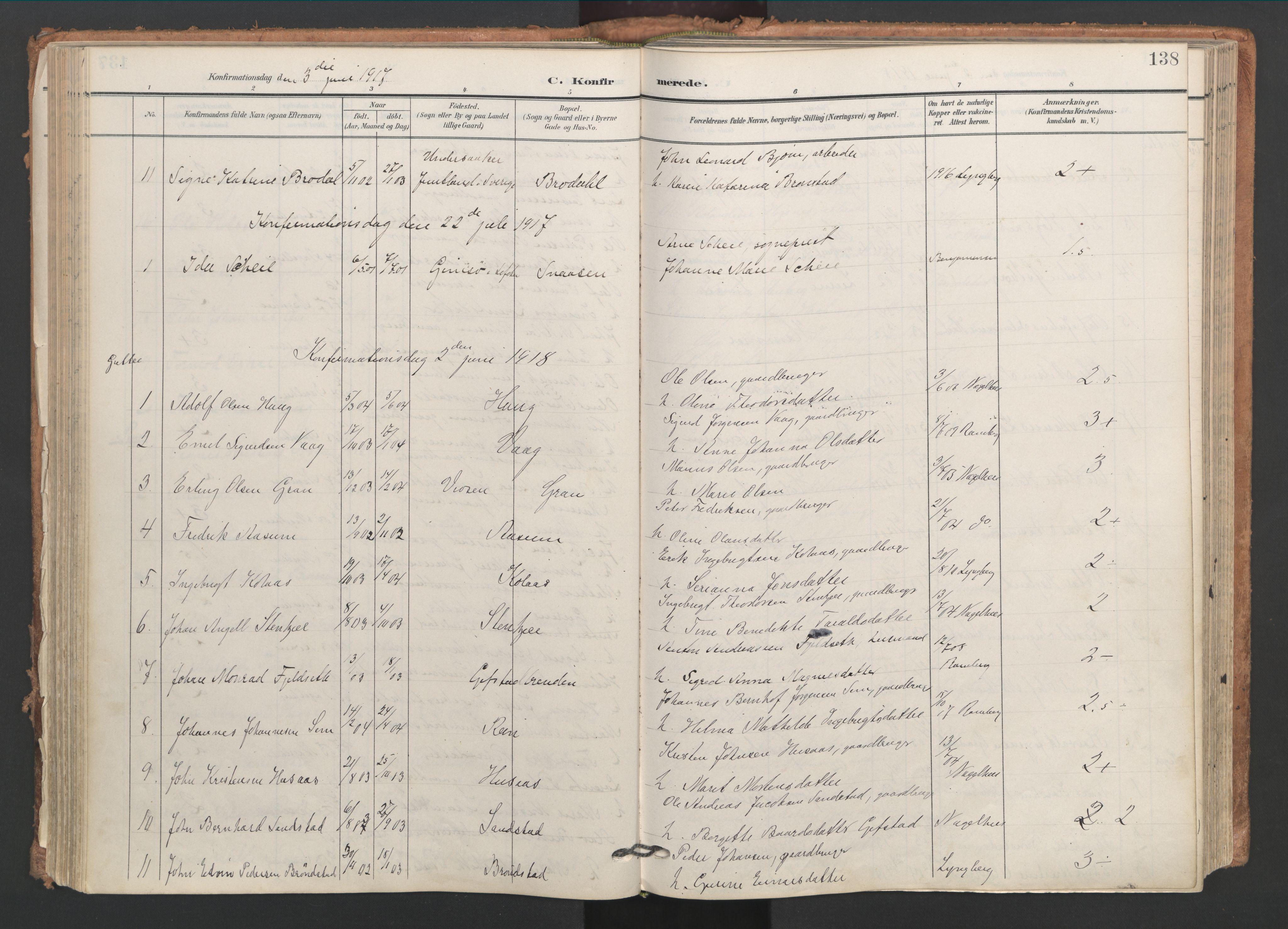 SAT, Ministerialprotokoller, klokkerbøker og fødselsregistre - Nord-Trøndelag, 749/L0477: Ministerialbok nr. 749A11, 1902-1927, s. 138