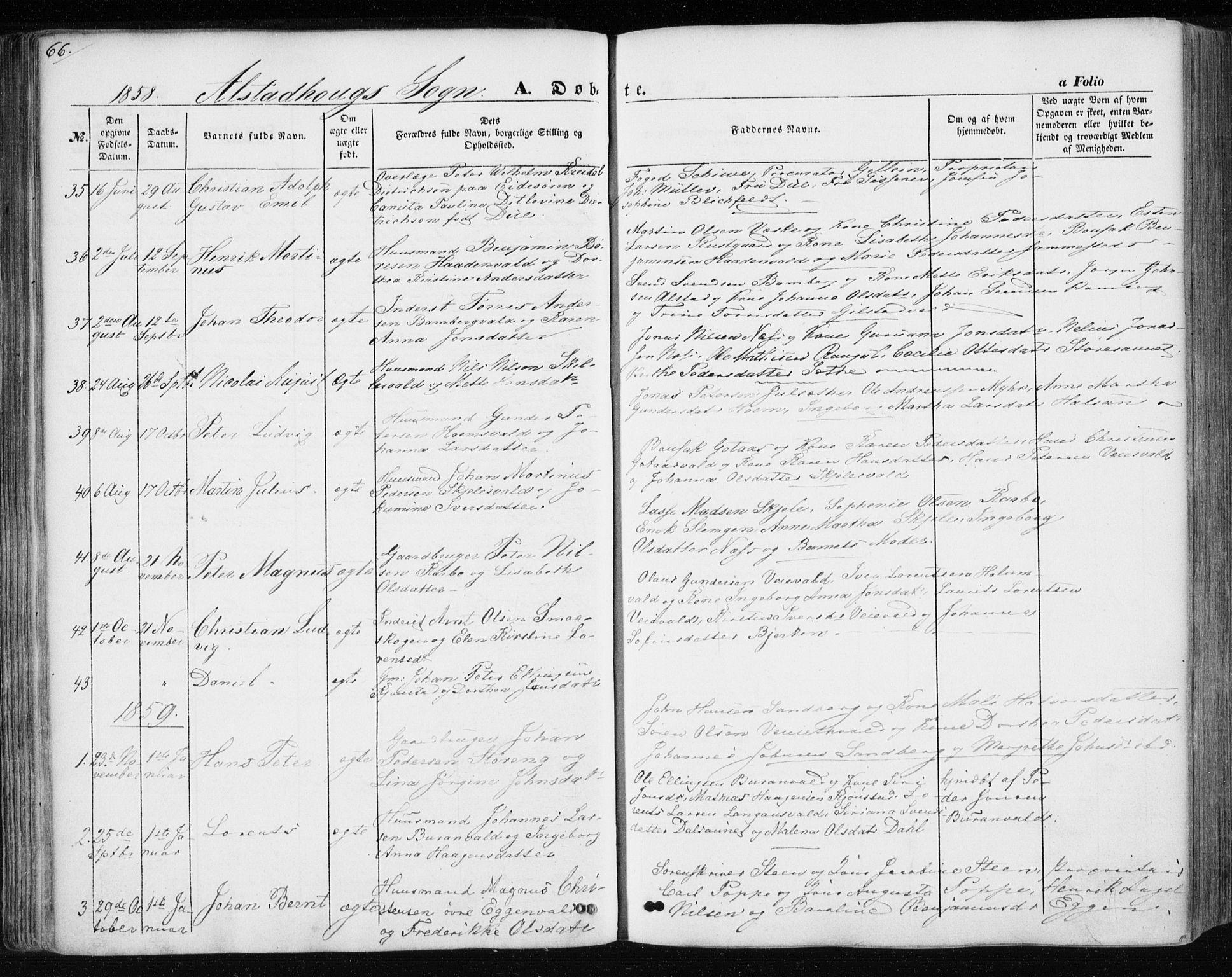 SAT, Ministerialprotokoller, klokkerbøker og fødselsregistre - Nord-Trøndelag, 717/L0154: Ministerialbok nr. 717A07 /1, 1850-1862, s. 66