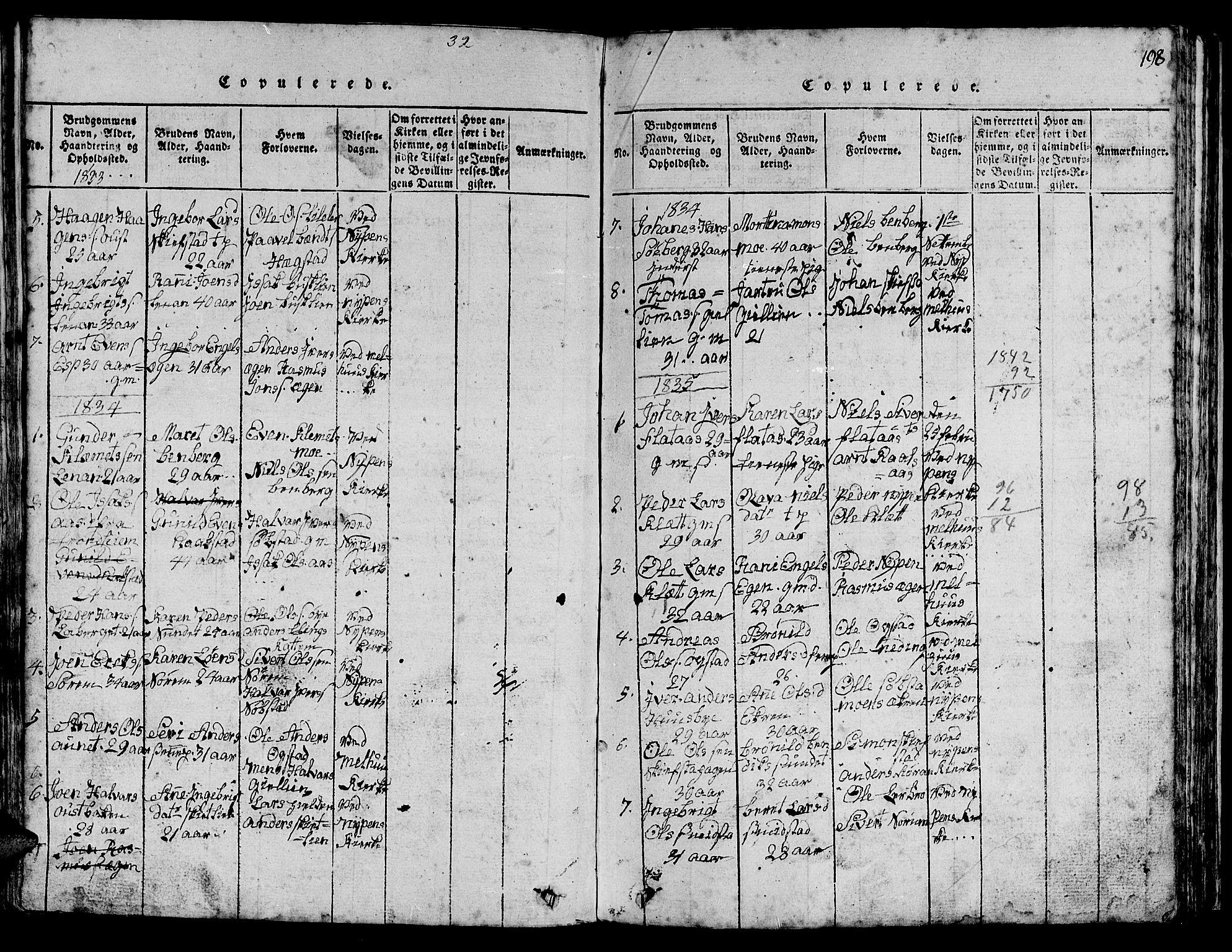 SAT, Ministerialprotokoller, klokkerbøker og fødselsregistre - Sør-Trøndelag, 613/L0393: Klokkerbok nr. 613C01, 1816-1886, s. 198
