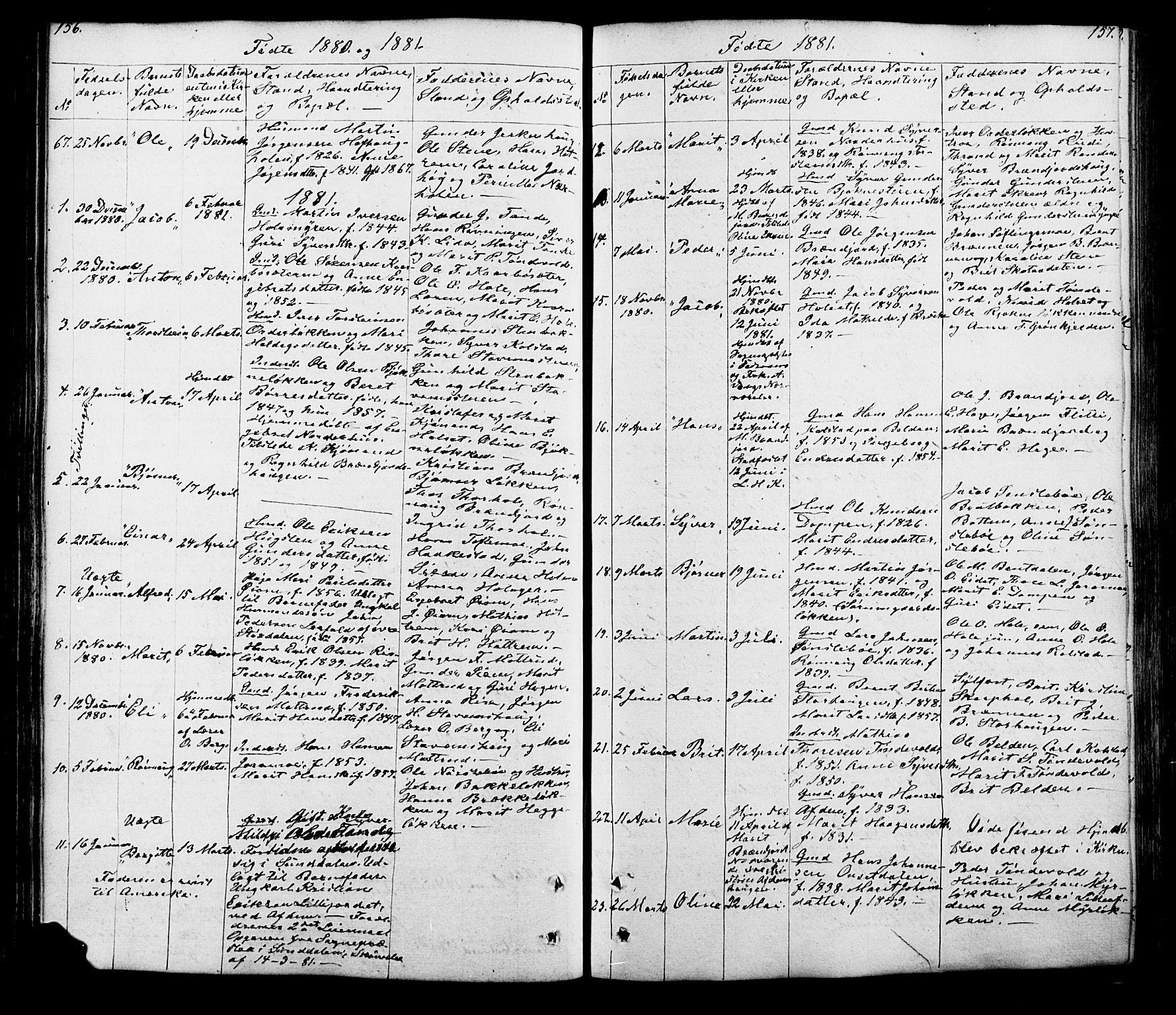 SAH, Lesja prestekontor, Klokkerbok nr. 5, 1850-1894, s. 156-157