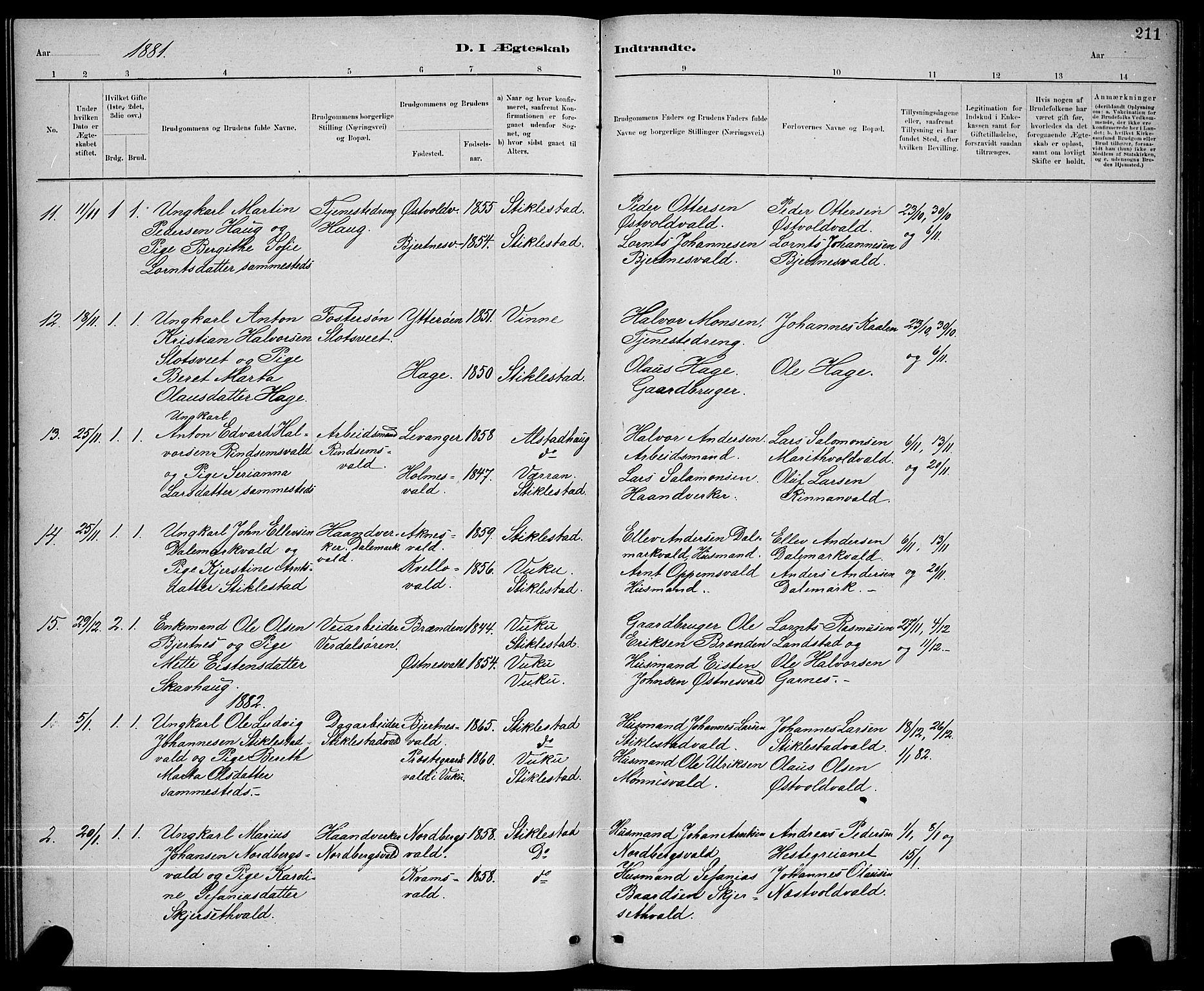 SAT, Ministerialprotokoller, klokkerbøker og fødselsregistre - Nord-Trøndelag, 723/L0256: Klokkerbok nr. 723C04, 1879-1890, s. 211