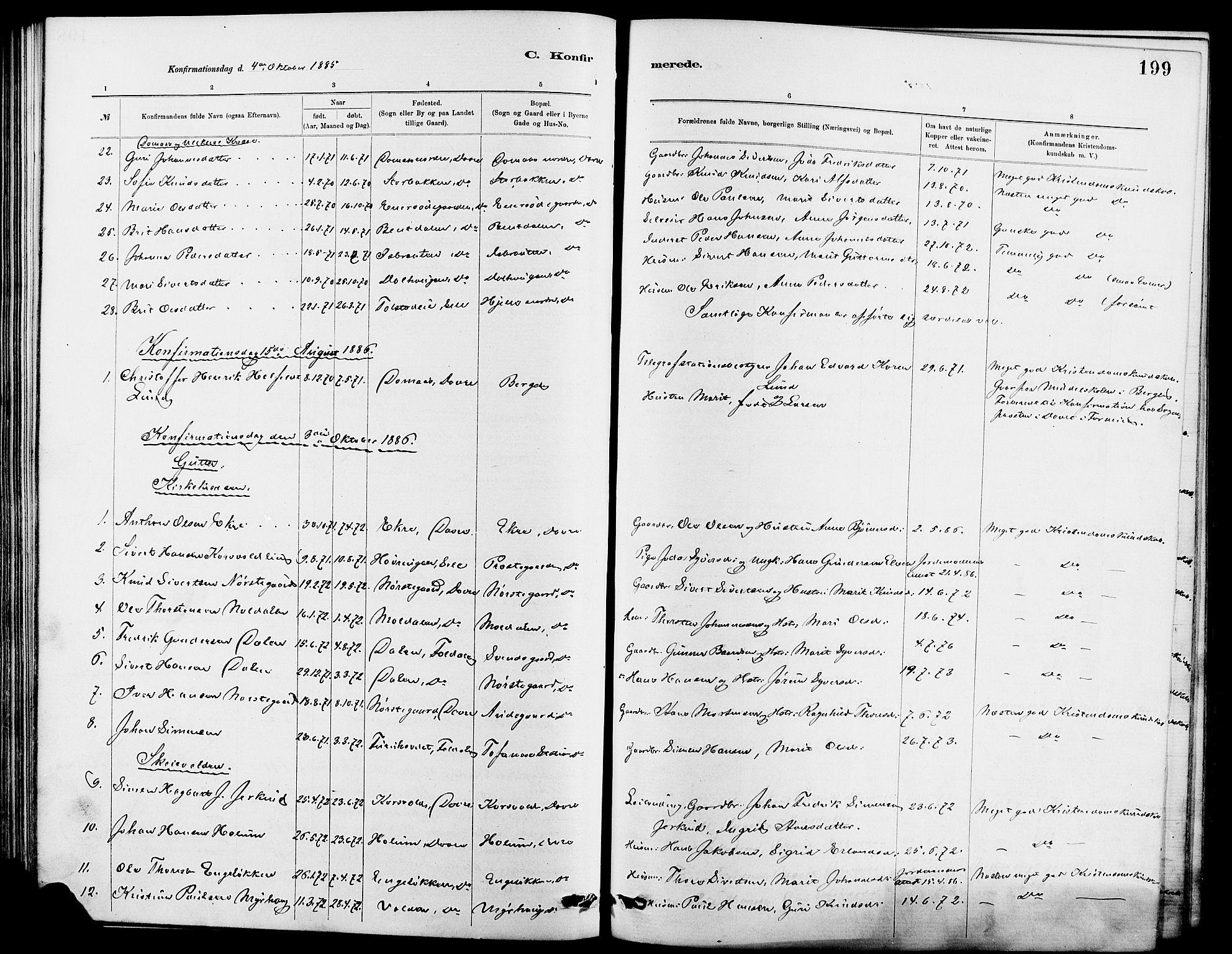 SAH, Dovre prestekontor, Klokkerbok nr. 2, 1881-1907, s. 199