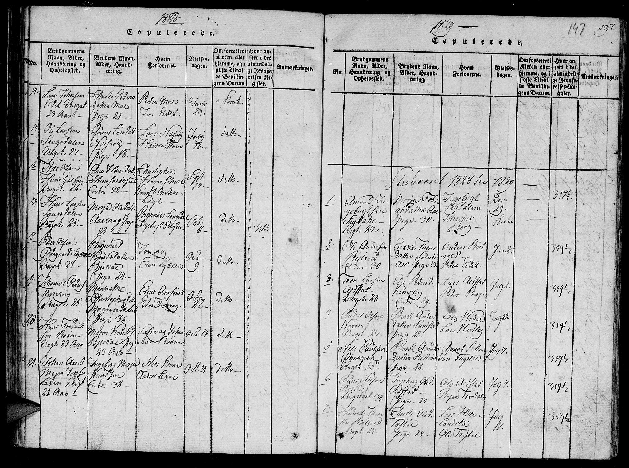 SAT, Ministerialprotokoller, klokkerbøker og fødselsregistre - Sør-Trøndelag, 630/L0491: Ministerialbok nr. 630A04, 1818-1830, s. 197