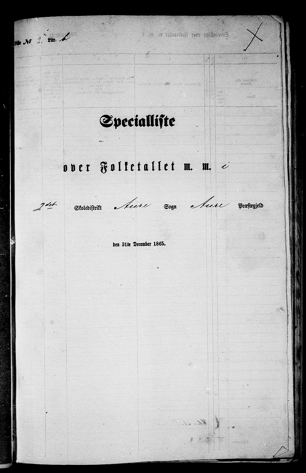 RA, Folketelling 1865 for 1569P Aure prestegjeld, 1865, s. 42