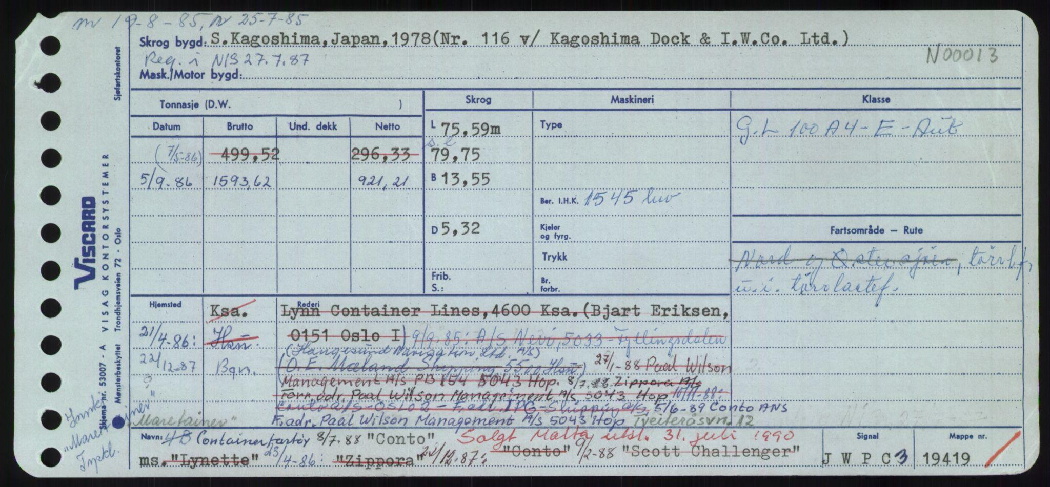 RA, Sjøfartsdirektoratet med forløpere, Skipsmålingen, H/Hd/L0008: Fartøy, C-D, s. 213