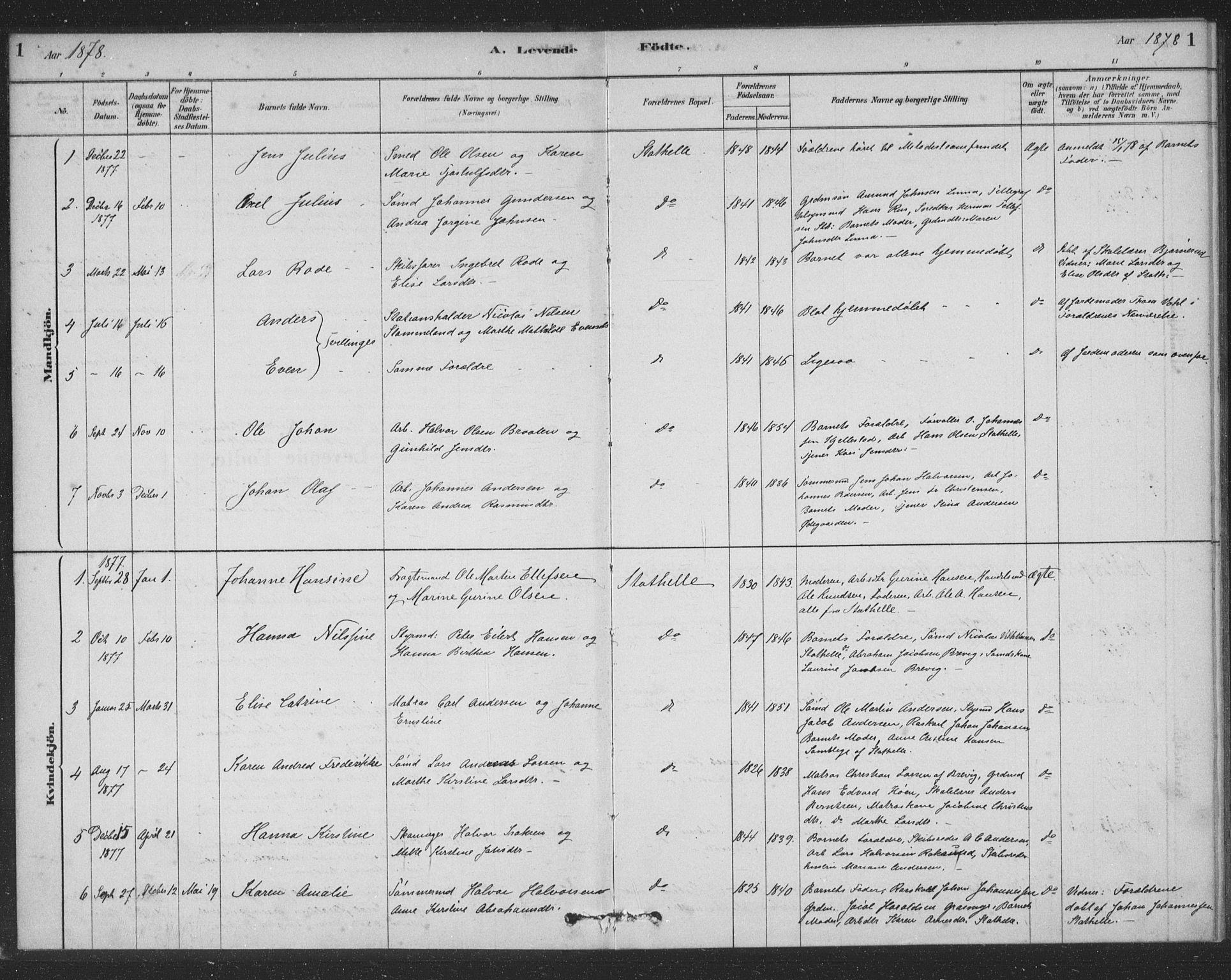 SAKO, Bamble kirkebøker, F/Fb/L0001: Ministerialbok nr. II 1, 1878-1899, s. 1