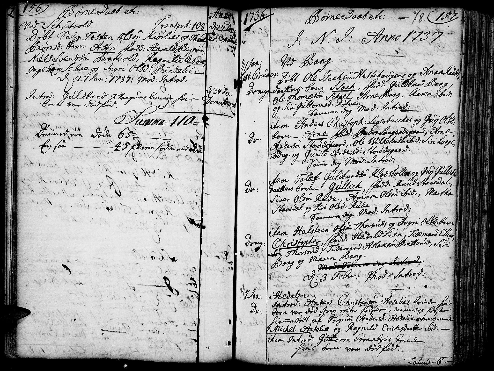 SAH, Aurdal prestekontor, Ministerialbok nr. 4, 1730-1762, s. 156-157