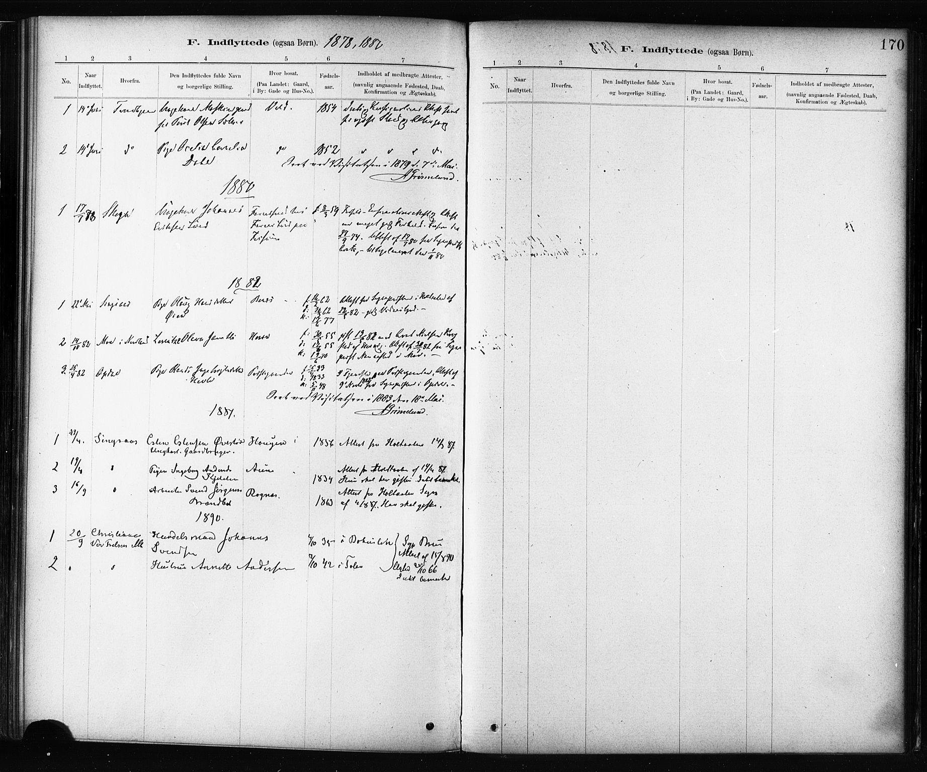 SAT, Ministerialprotokoller, klokkerbøker og fødselsregistre - Sør-Trøndelag, 687/L1002: Ministerialbok nr. 687A08, 1878-1890, s. 170