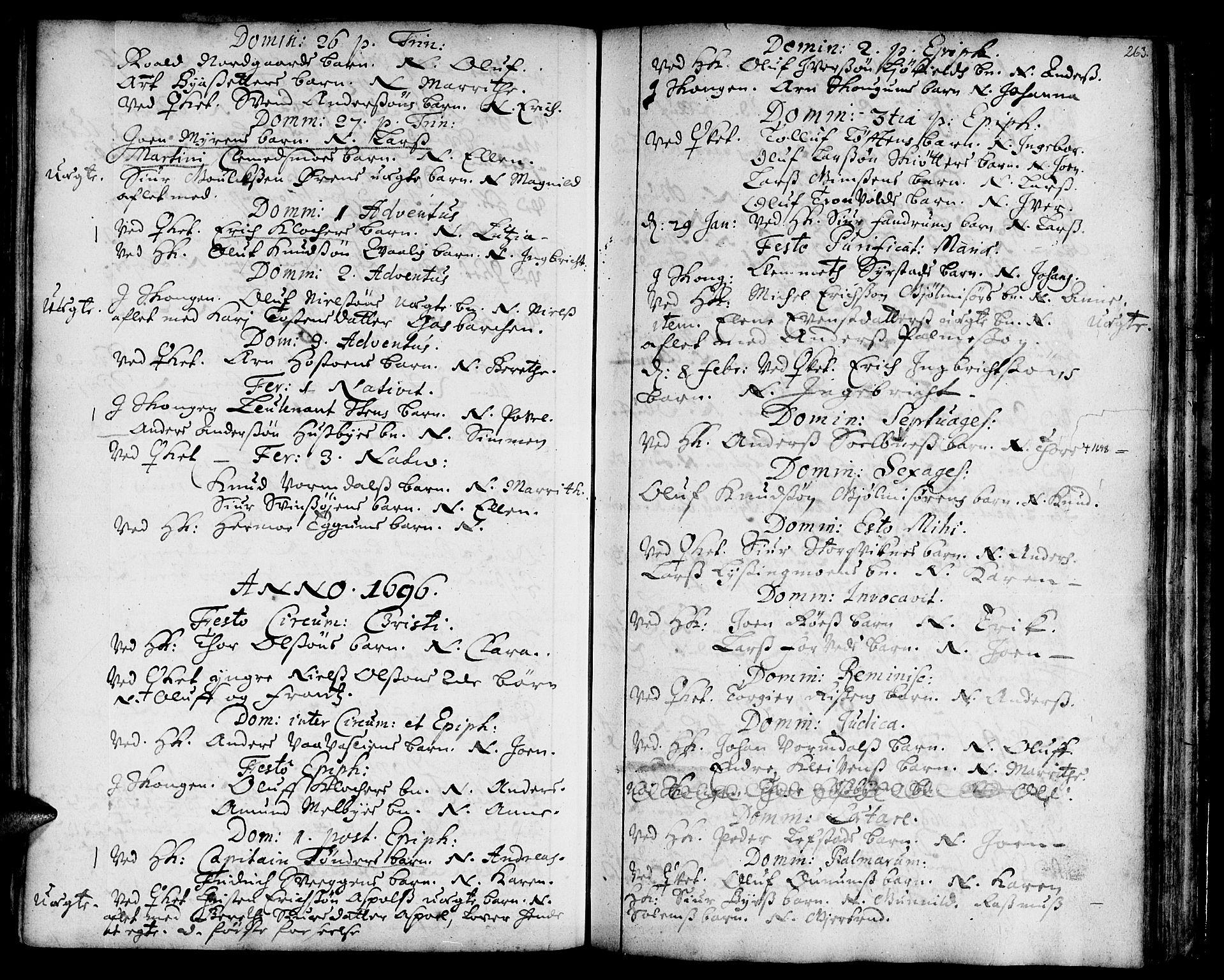 SAT, Ministerialprotokoller, klokkerbøker og fødselsregistre - Sør-Trøndelag, 668/L0801: Ministerialbok nr. 668A01, 1695-1716, s. 262-263
