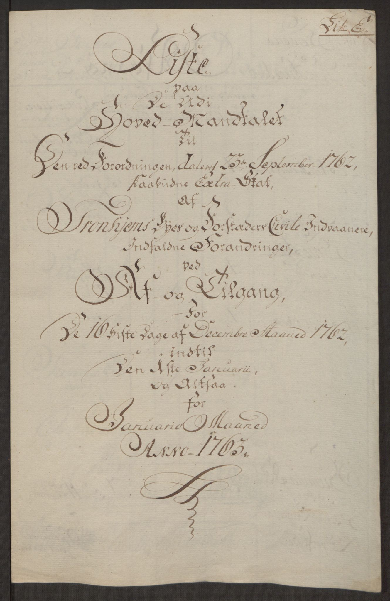 RA, Rentekammeret inntil 1814, Reviderte regnskaper, Byregnskaper, R/Rs/L0516: [S9] Kontribusjonsregnskap, 1762-1767, s. 115