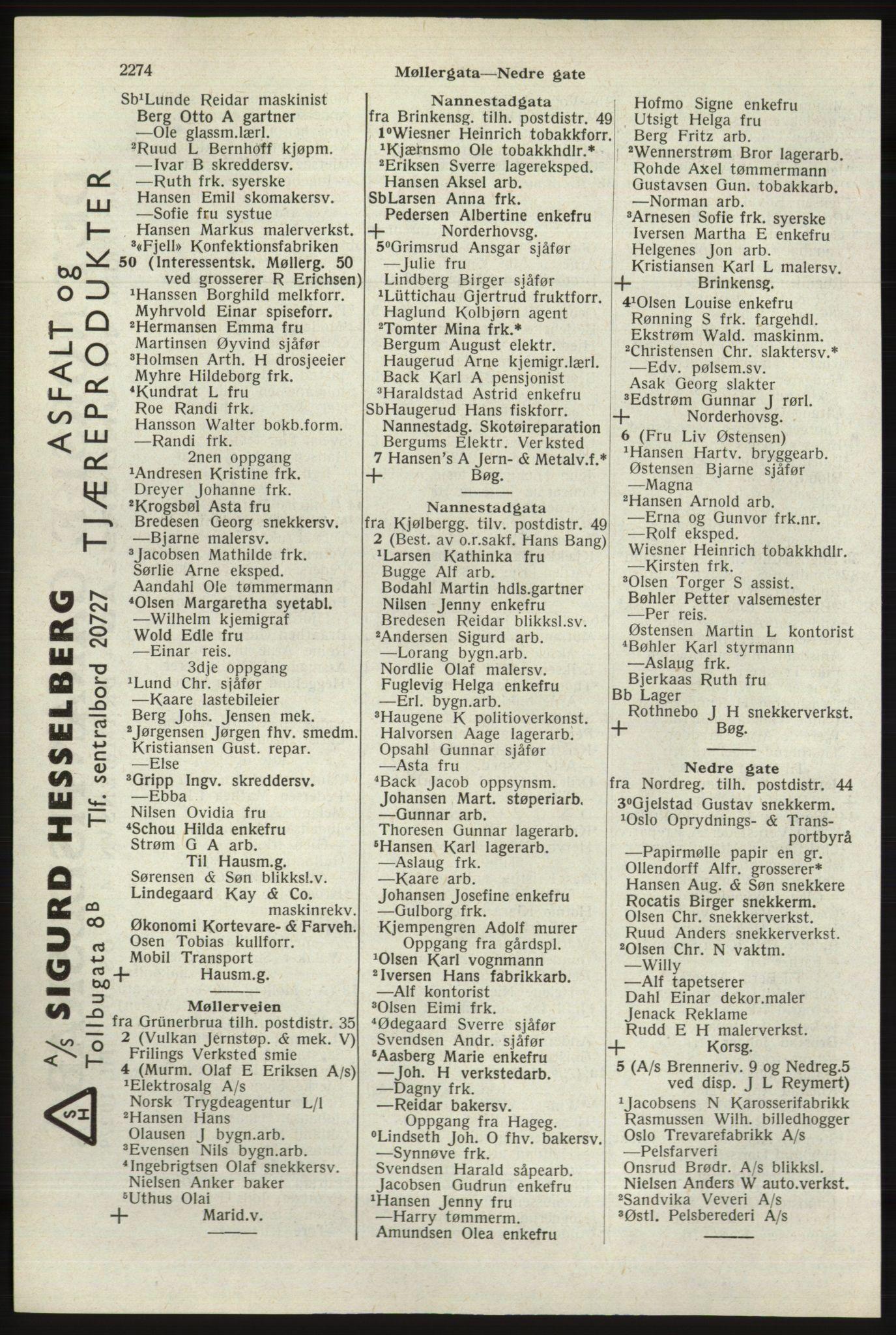 RA, Oslo adressebok (publikasjon)*, 1940, s. 2274