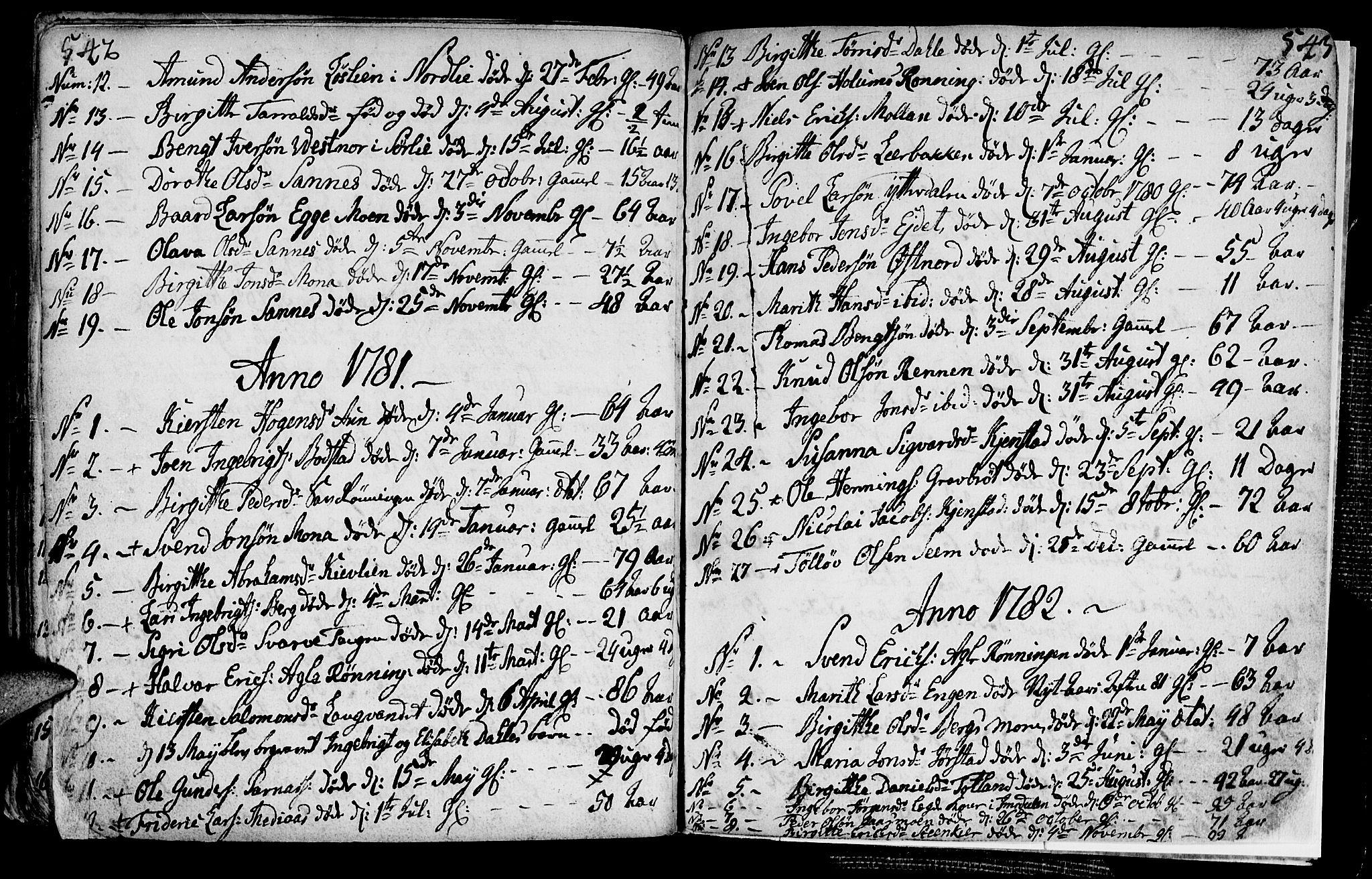 SAT, Ministerialprotokoller, klokkerbøker og fødselsregistre - Nord-Trøndelag, 749/L0467: Ministerialbok nr. 749A01, 1733-1787, s. 542-543