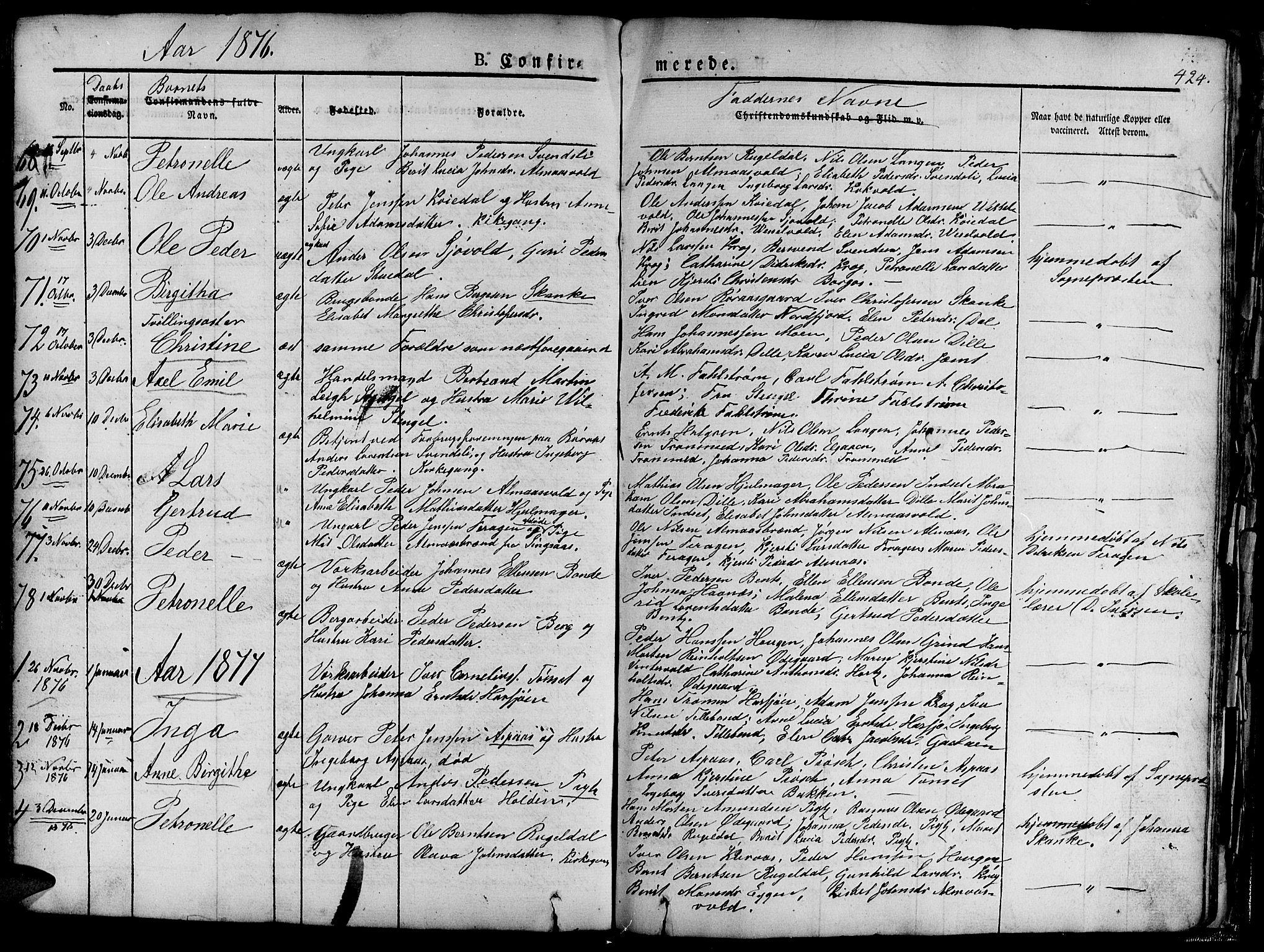 SAT, Ministerialprotokoller, klokkerbøker og fødselsregistre - Sør-Trøndelag, 681/L0938: Klokkerbok nr. 681C02, 1829-1879, s. 424