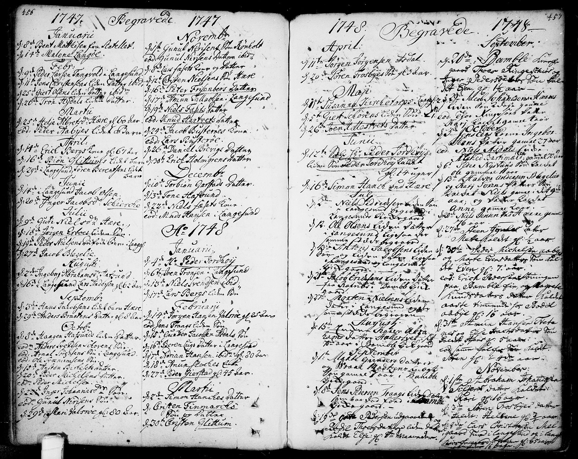 SAKO, Bamble kirkebøker, F/Fa/L0001: Ministerialbok nr. I 1, 1702-1774, s. 456-457