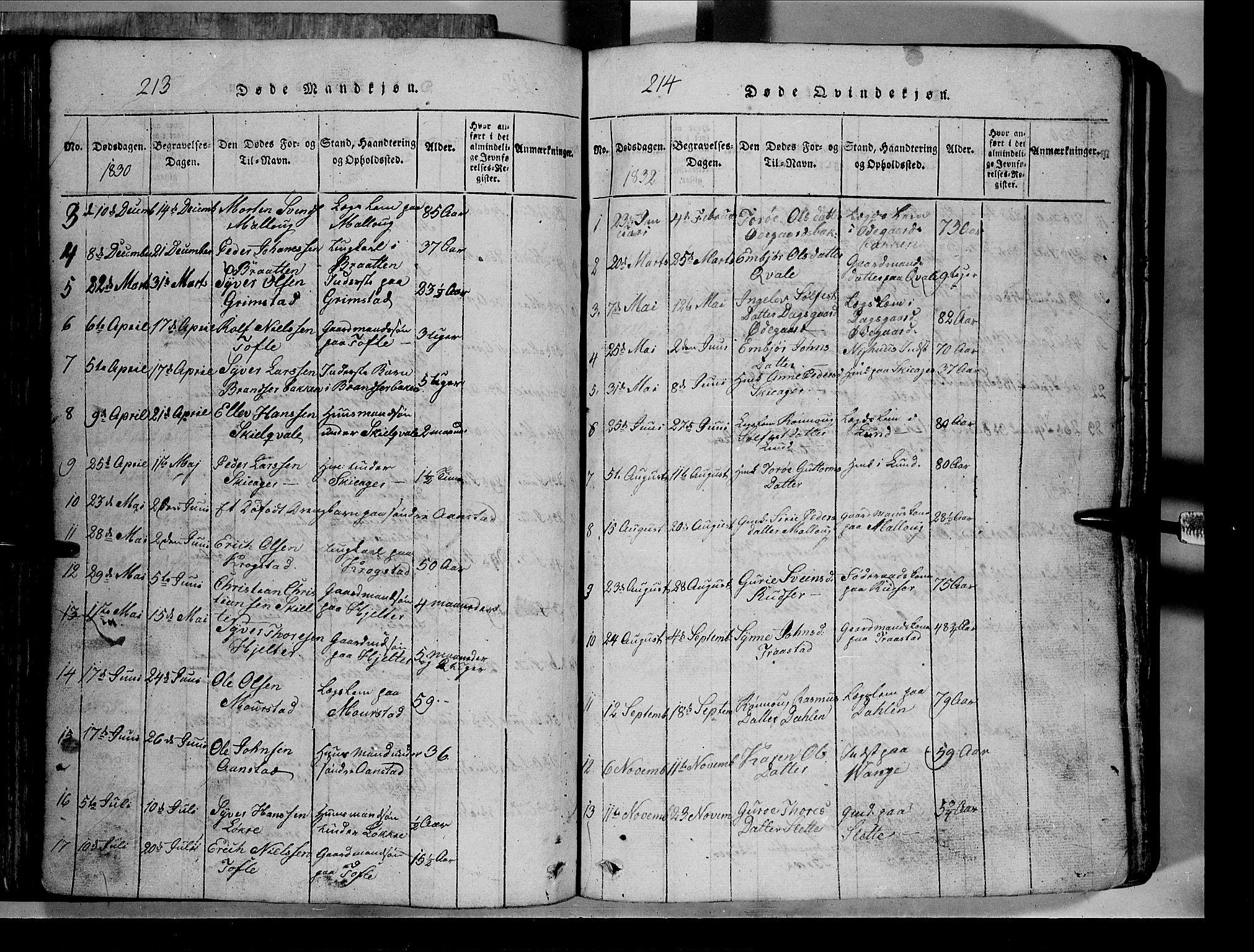 SAH, Lom prestekontor, L/L0003: Klokkerbok nr. 3, 1815-1844, s. 213-214